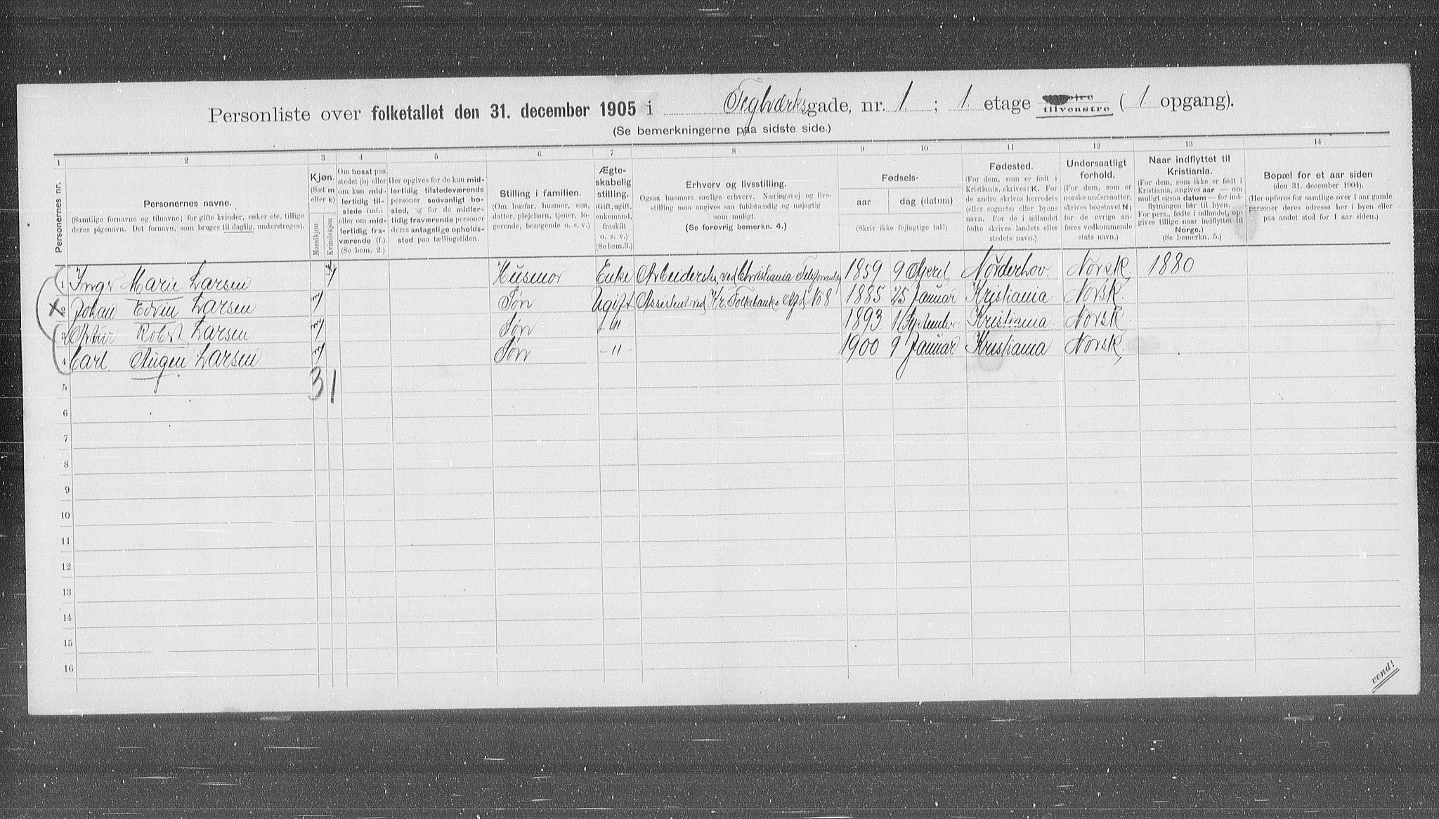 OBA, Municipal Census 1905 for Kristiania, 1905, p. 56034