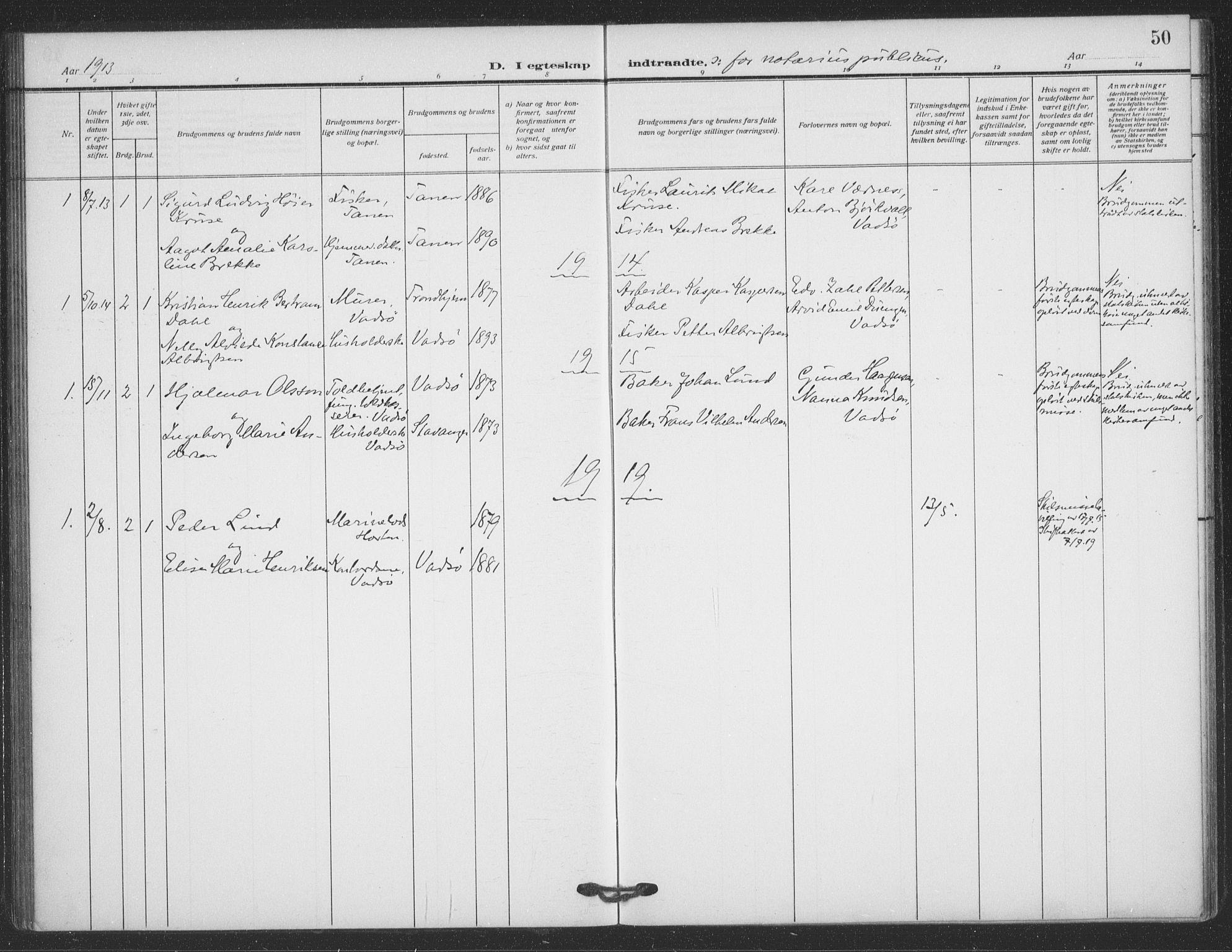 SATØ, Vadsø sokneprestkontor, H/Ha/L0008kirke: Parish register (official) no. 8, 1912-1930, p. 50