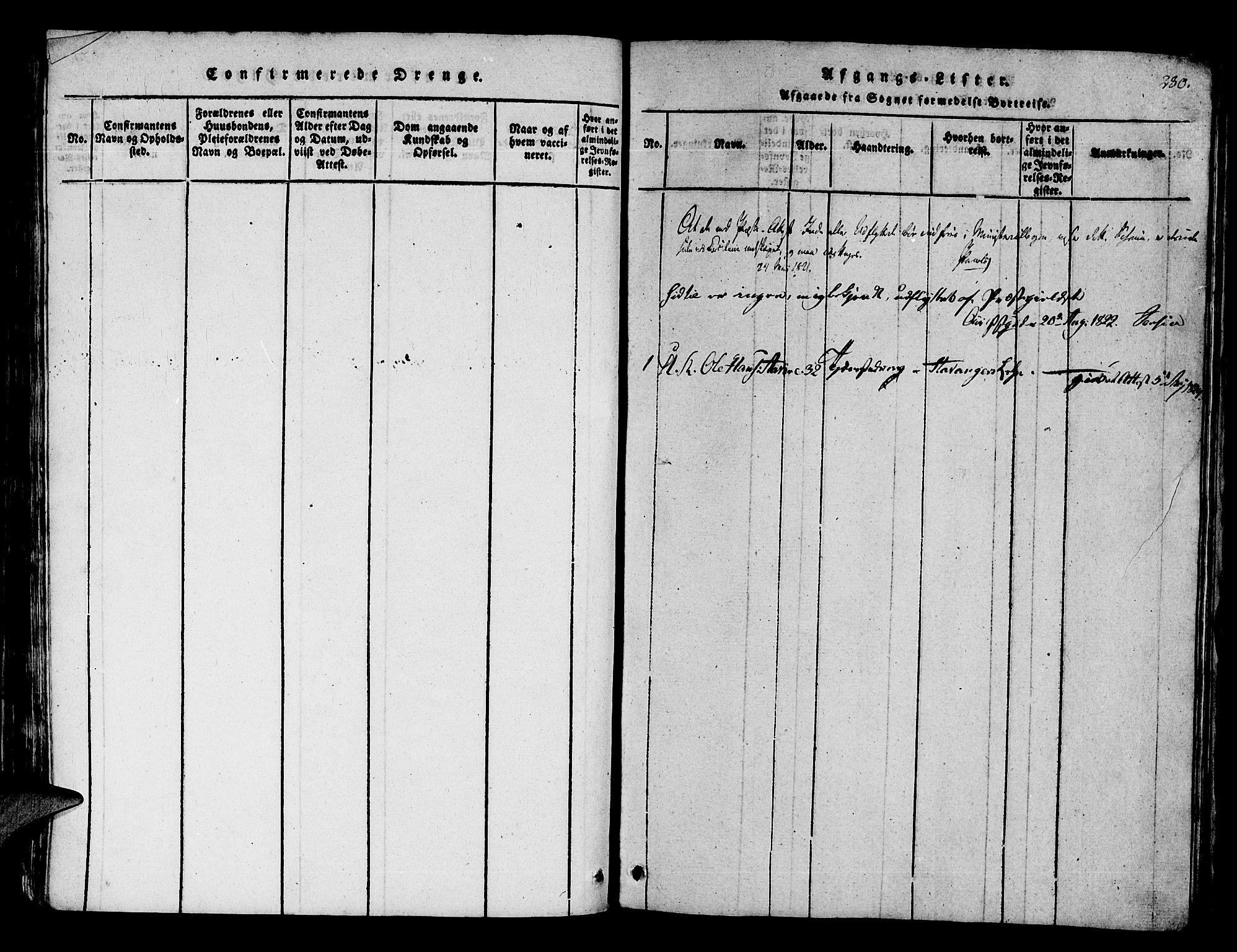 SAB, Os sokneprestembete*, Parish register (official) no. A 12, 1816-1825, p. 280