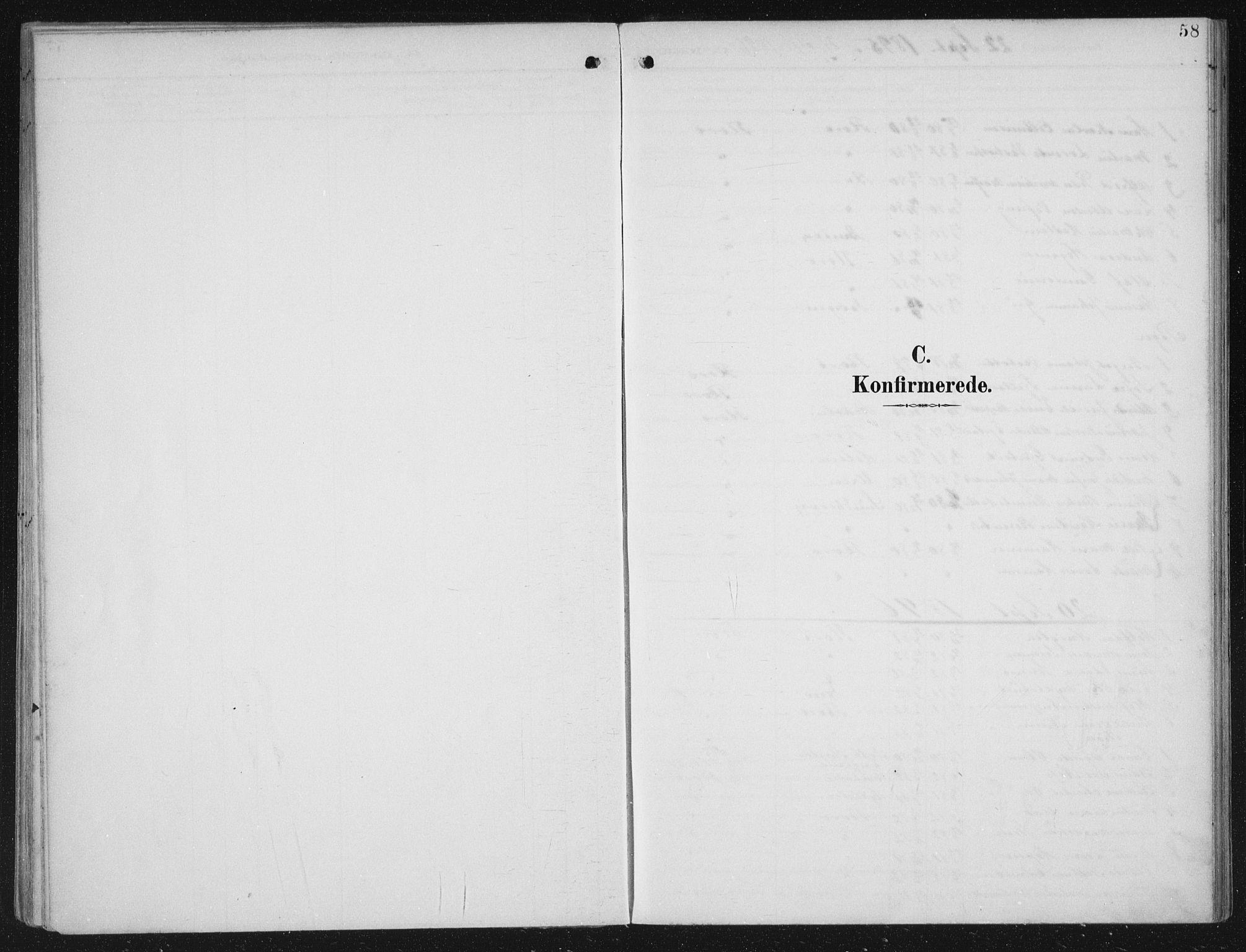 SAB, Kinn sokneprestembete, H/Haa/Haac/L0002: Parish register (official) no. C  2, 1895-1916, p. 58