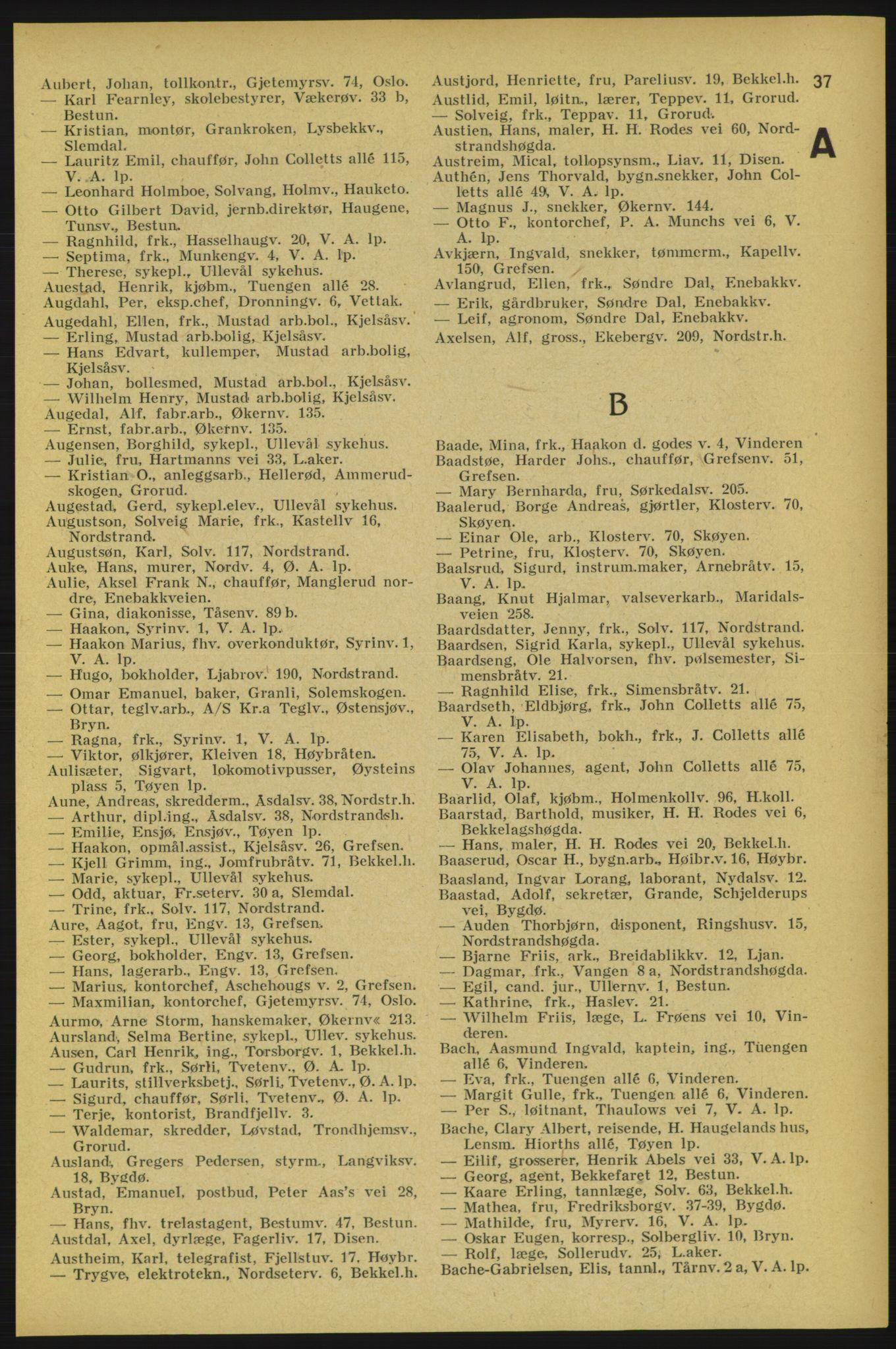 RA, Aker adressebok/adressekalender (publikasjon)*, 1934-1935, p. 37