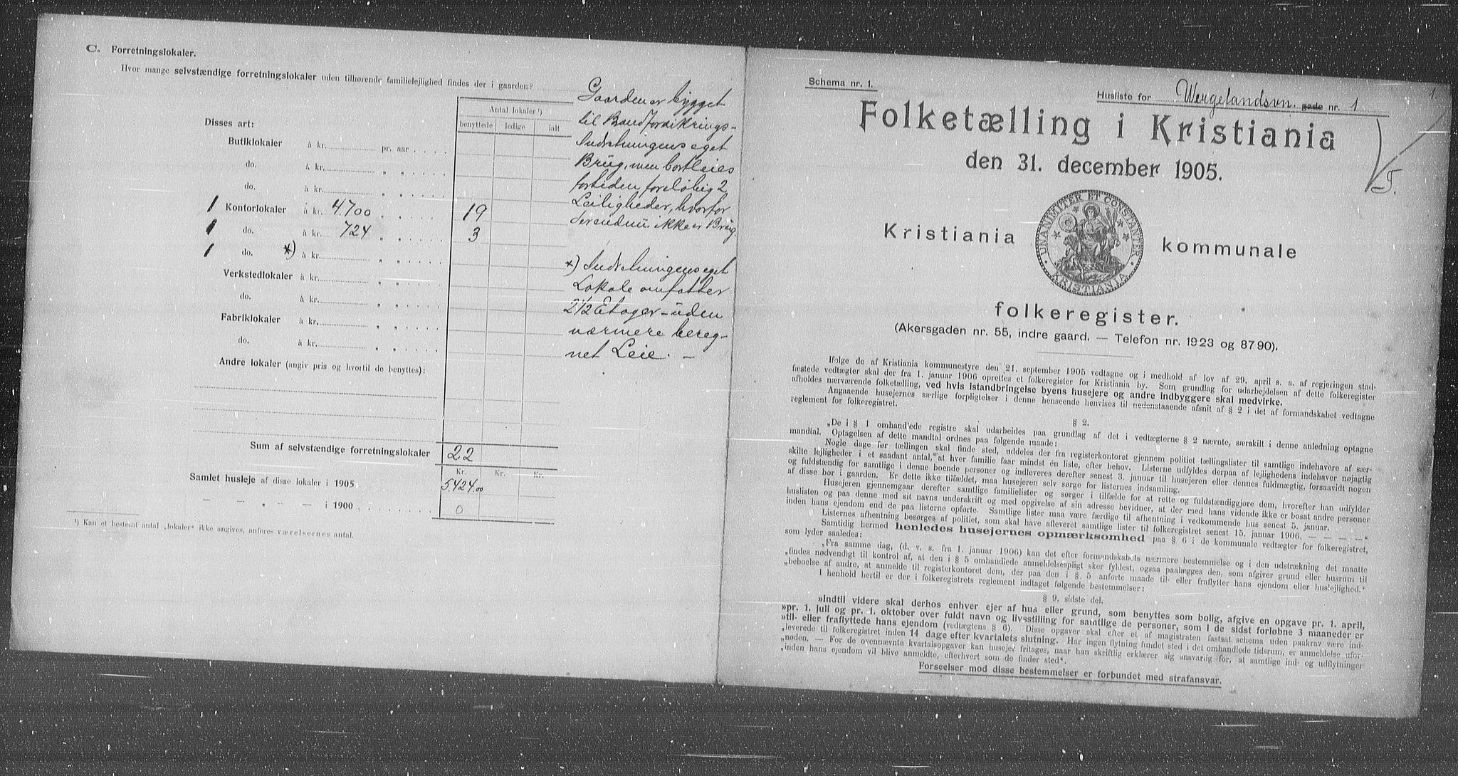 OBA, Municipal Census 1905 for Kristiania, 1905, p. 67158