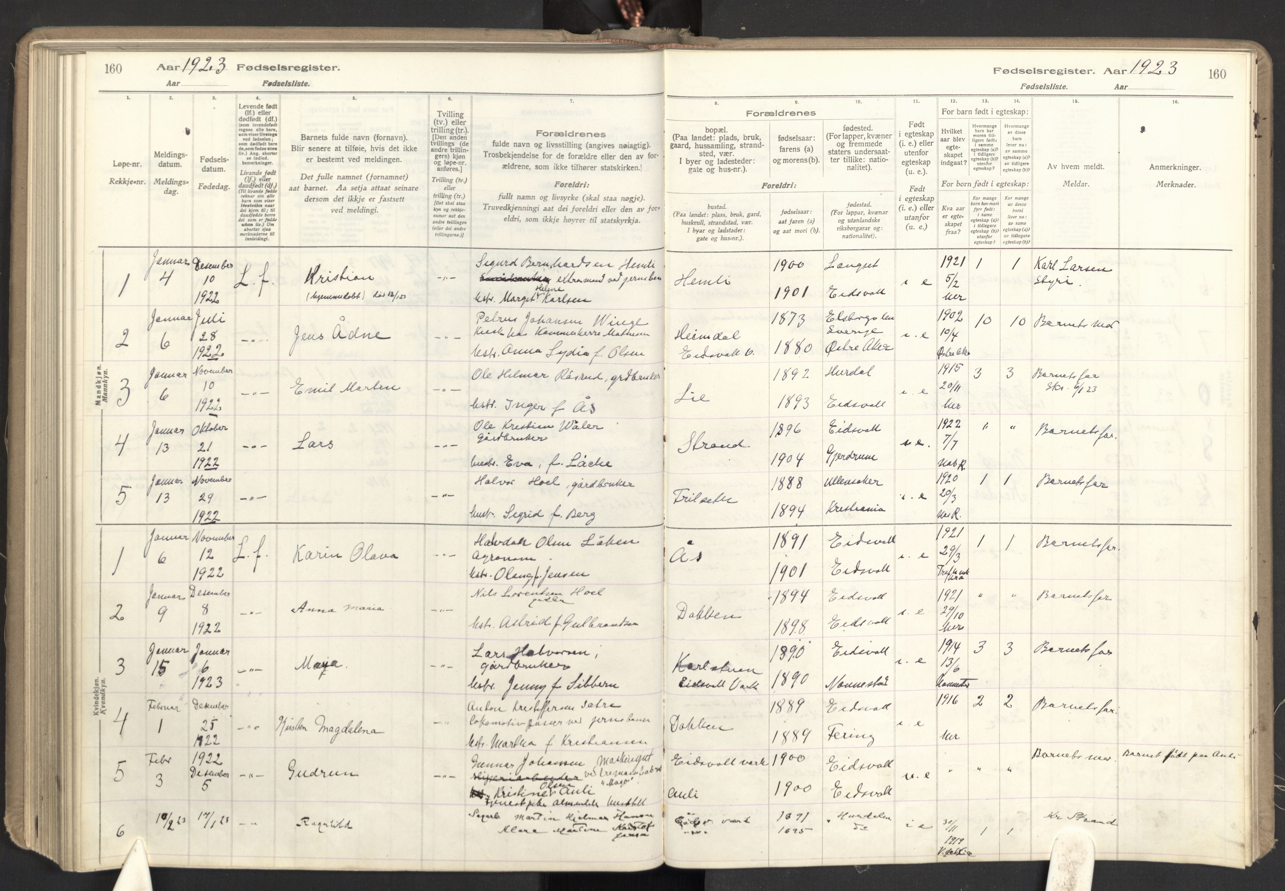 SAO, Eidsvoll prestekontor Kirkebøker, Birth register no. I 1, 1916-1924, p. 160