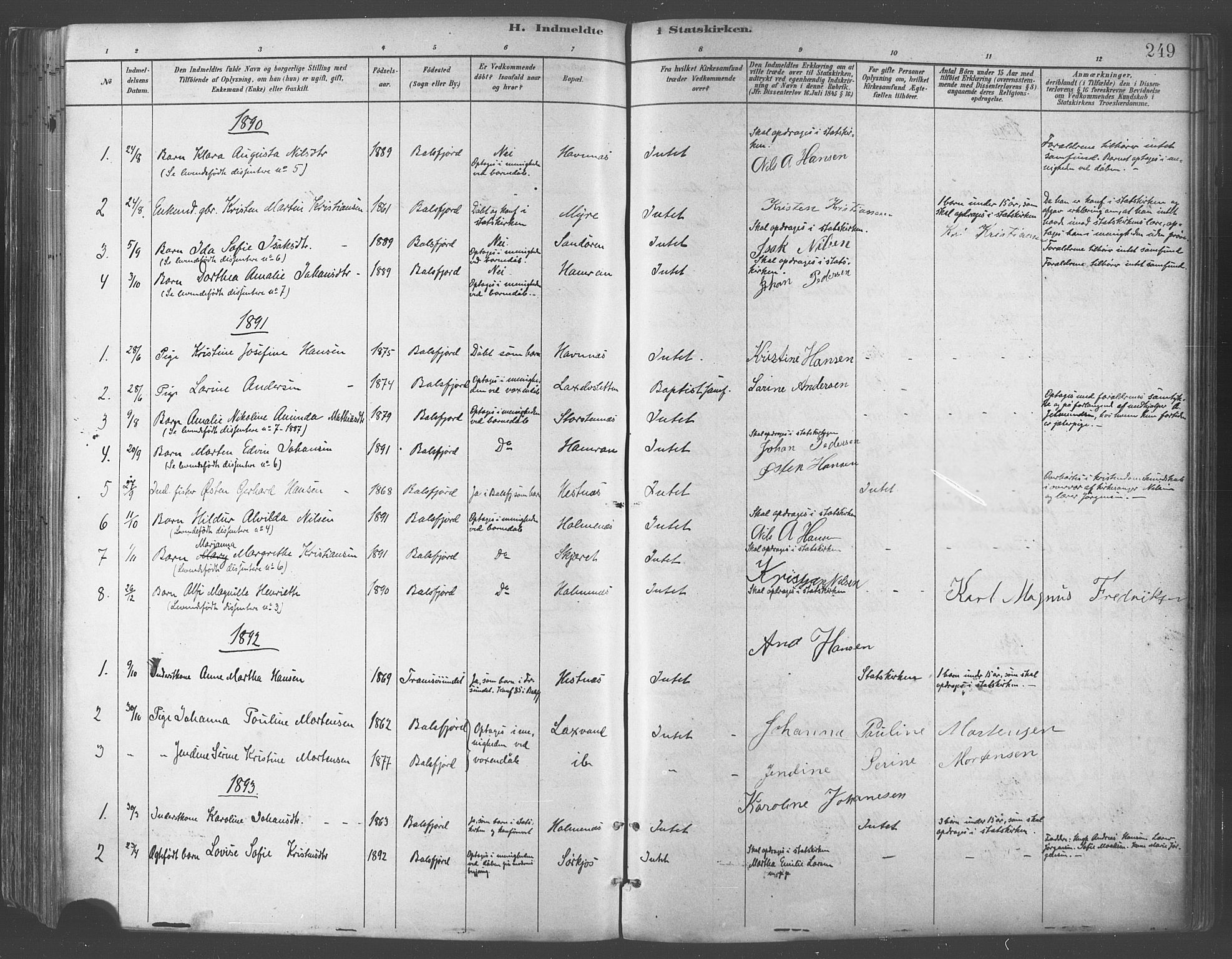 SATØ, Balsfjord sokneprestembete, Parish register (official) no. 5, 1884-1897, p. 249