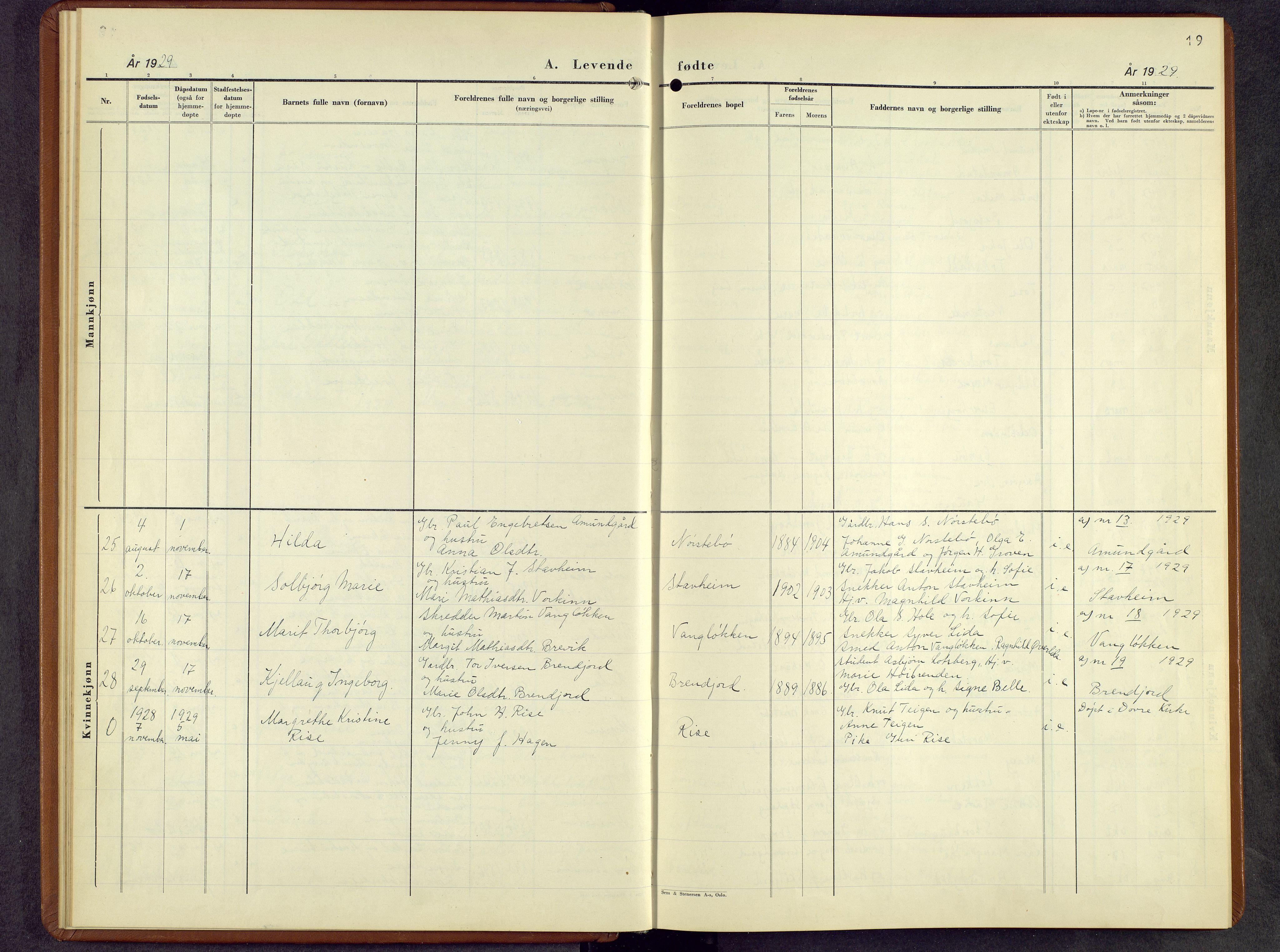 SAH, Lesja prestekontor, Parish register (copy) no. 10, 1925-1960, p. 19