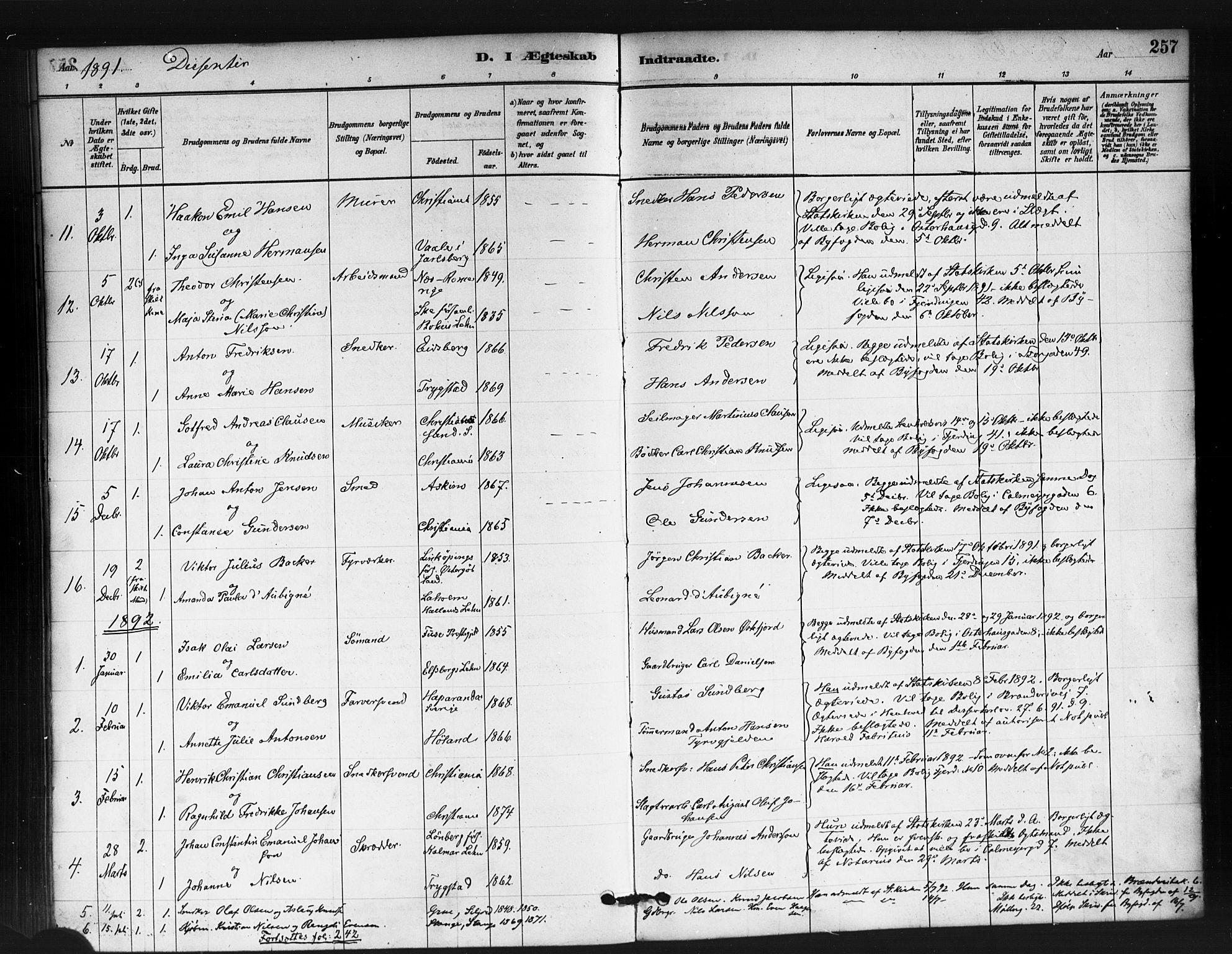 SAO, Jakob prestekontor Kirkebøker, F/Fa/L0004: Parish register (official) no. 4, 1880-1894, p. 257