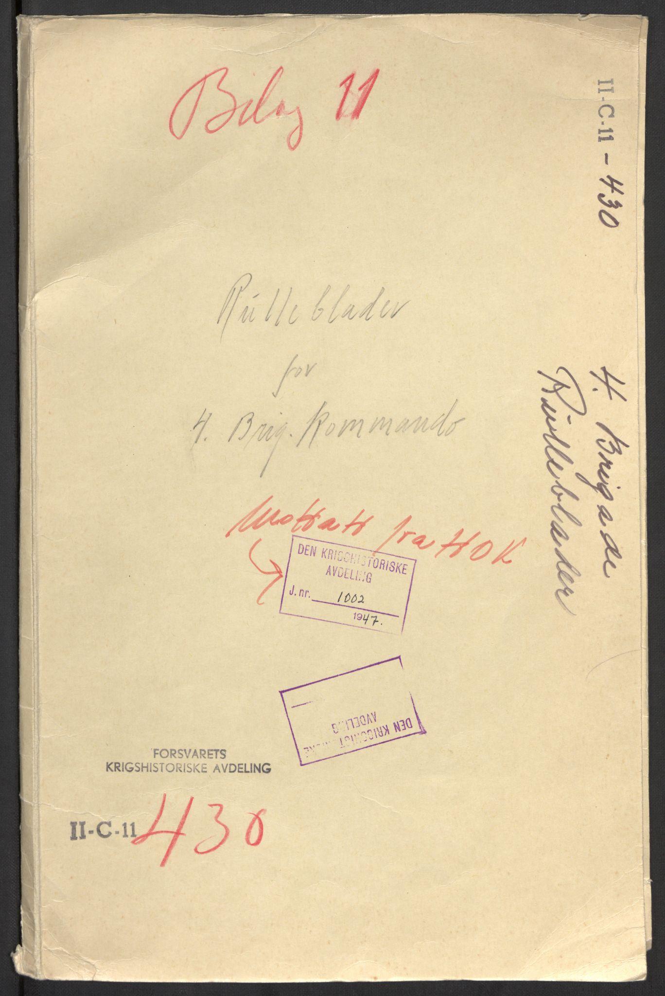 RA, Forsvaret, Forsvarets krigshistoriske avdeling, Y/Yb/L0104: II-C-11-430  -  4. Divisjon., 1940, p. 618