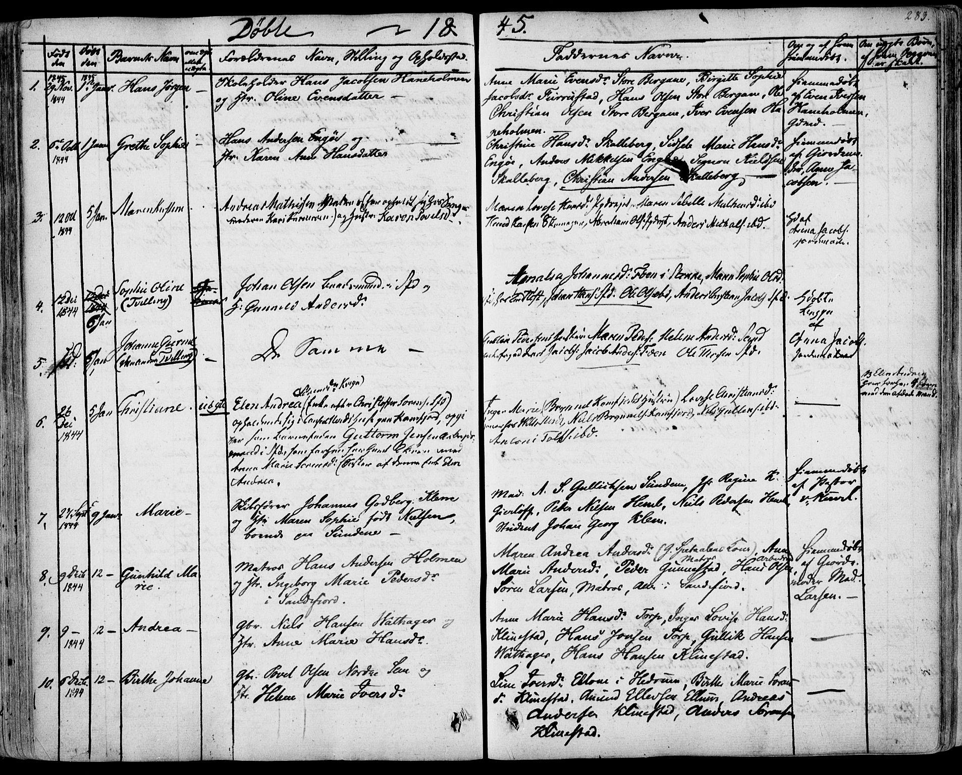 SAKO, Sandar kirkebøker, F/Fa/L0005: Parish register (official) no. 5, 1832-1847, p. 282-283