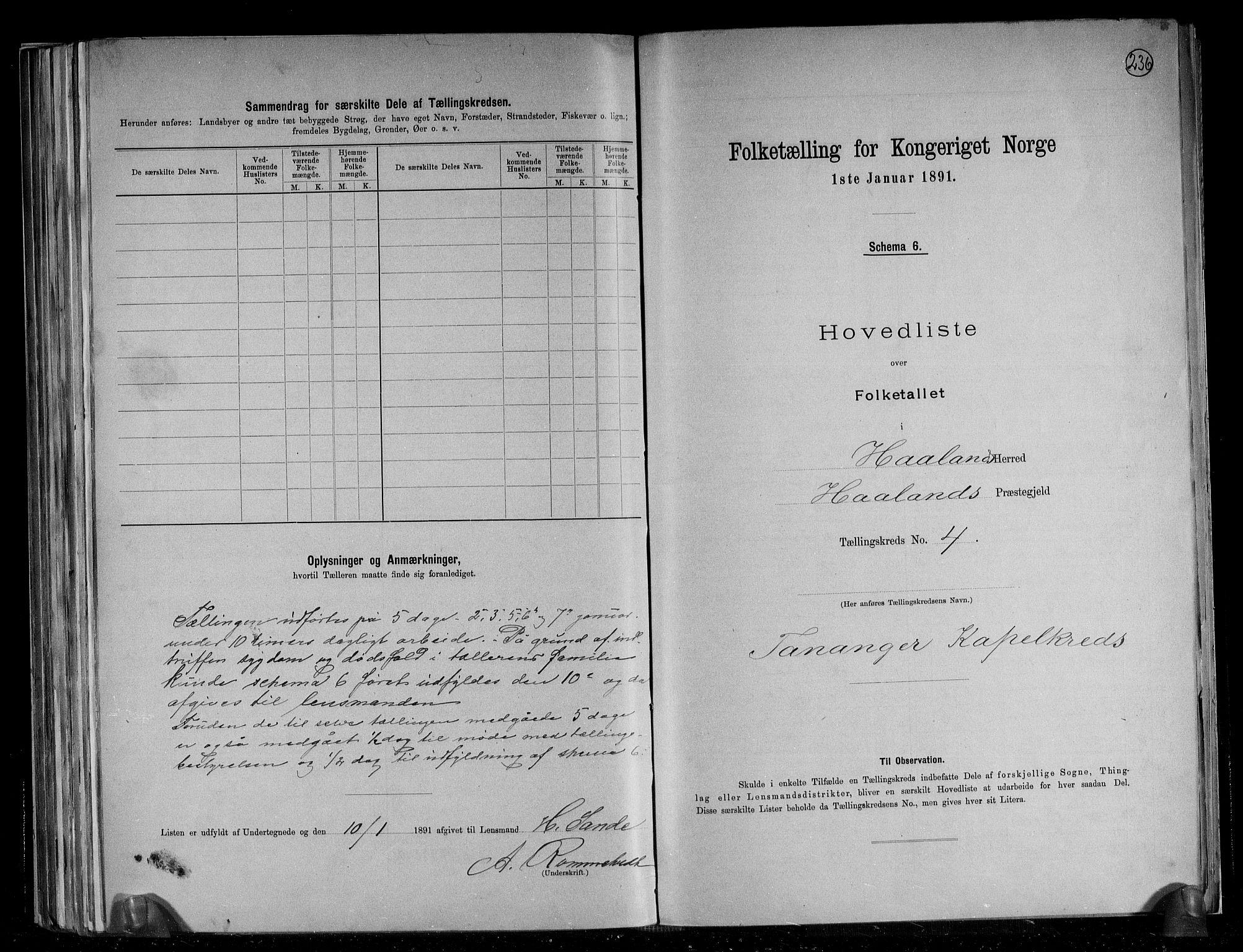 RA, 1891 census for 1124 Haaland, 1891, p. 14