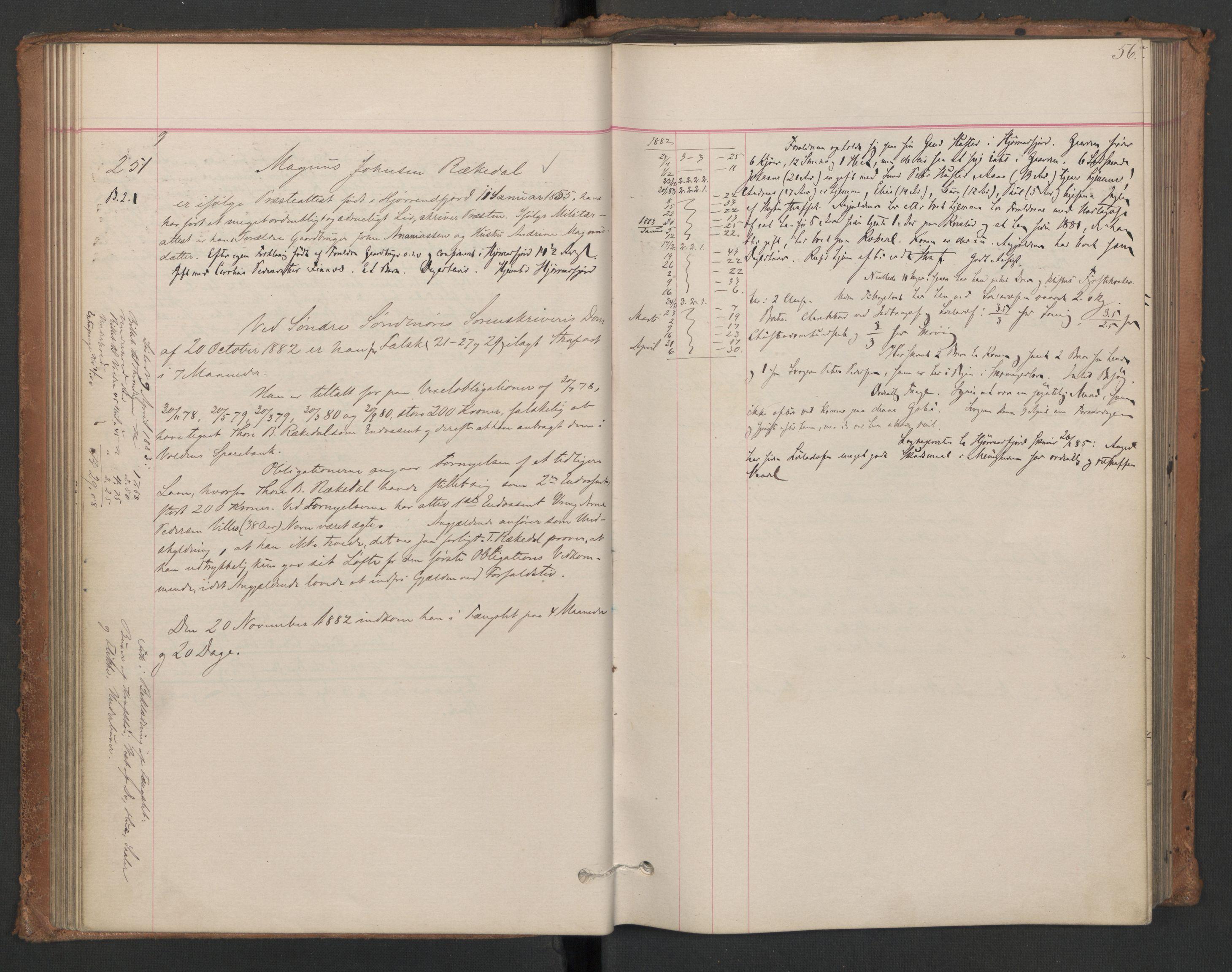 RA, Botsfengslet, D/Db/Dbb/L0021: 196g - 484g, 1882-1884, p. 56