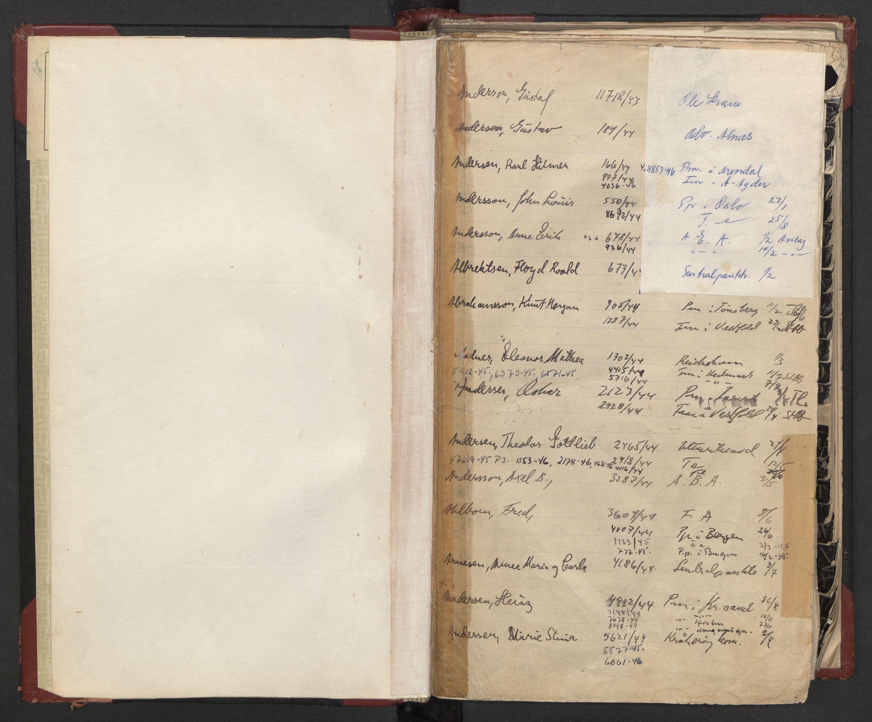 RA, Justisdepartementet, 3. politikontor P3, C/Cc/L0002: Journalregister over statsborgersaker, 1940-1946, p. 4