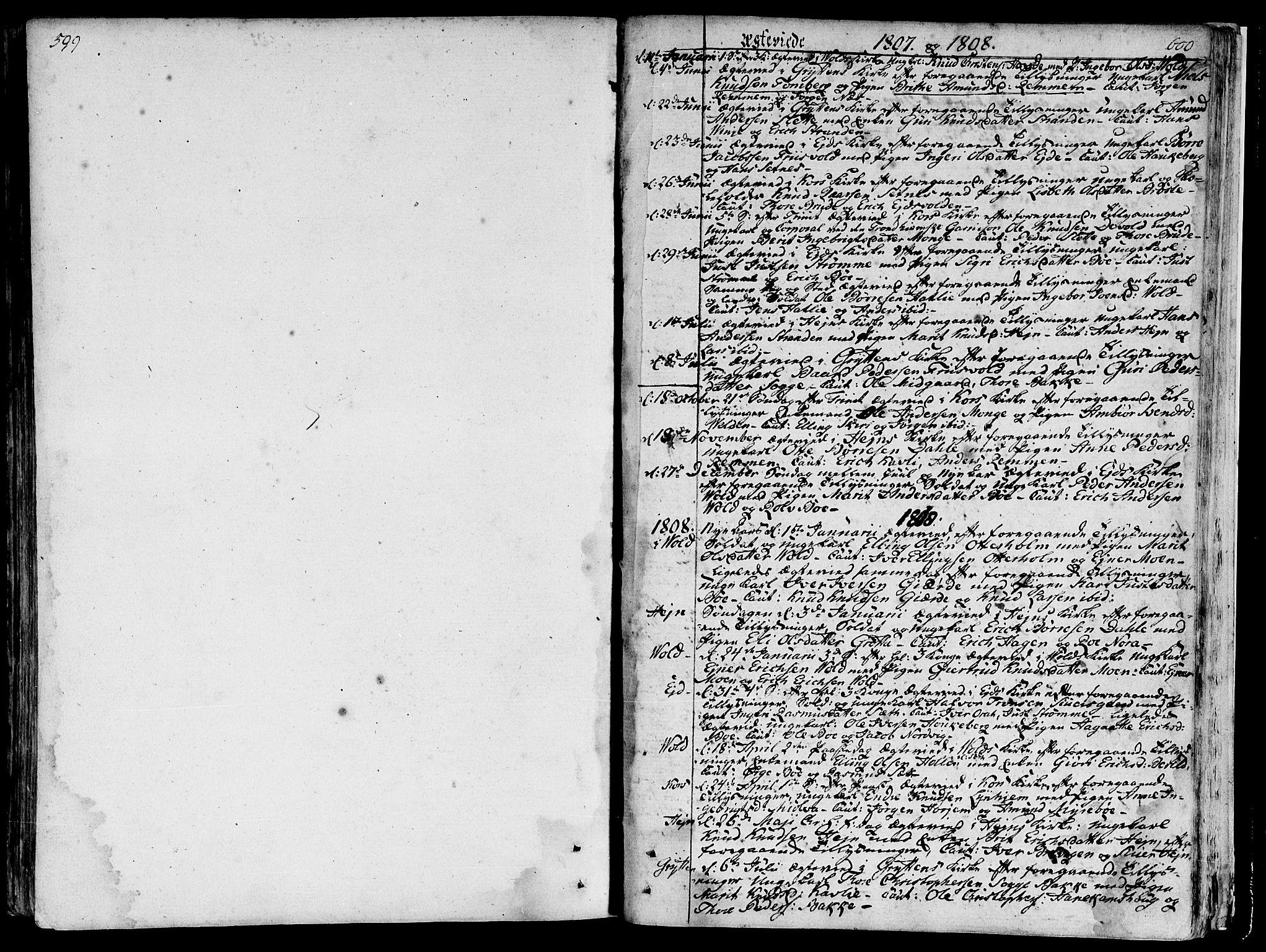 SAT, Ministerialprotokoller, klokkerbøker og fødselsregistre - Møre og Romsdal, 544/L0570: Parish register (official) no. 544A03, 1807-1817, p. 599-600