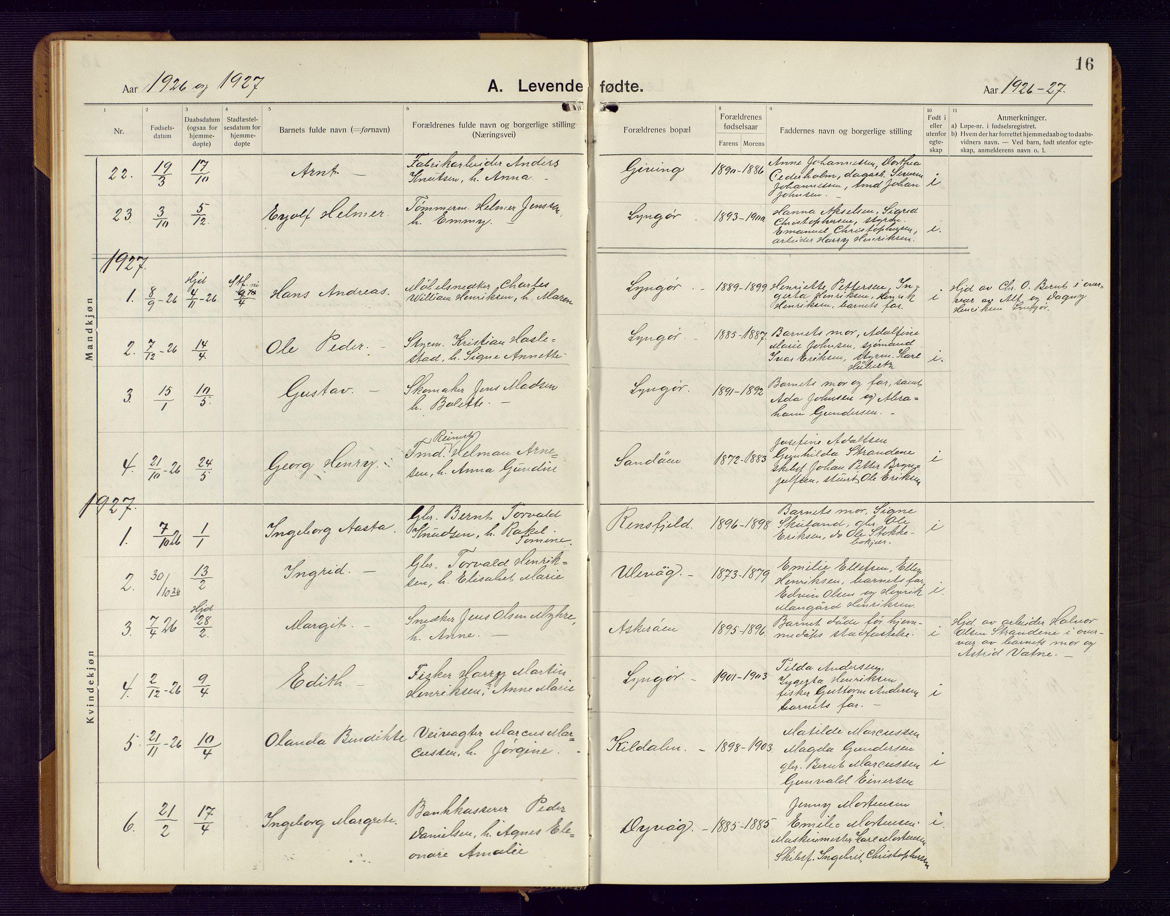 SAK, Dypvåg sokneprestkontor, F/Fb/Fba/L0015: Parish register (copy) no. B 15, 1922-1949, p. 16