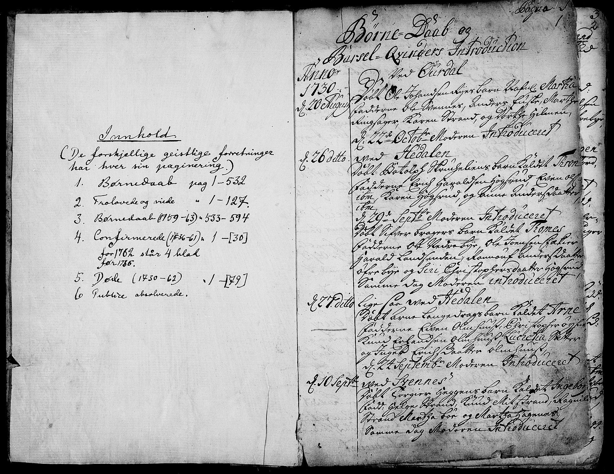 SAH, Aurdal prestekontor, Parish register (official) no. 4, 1730-1762, p. 0-1