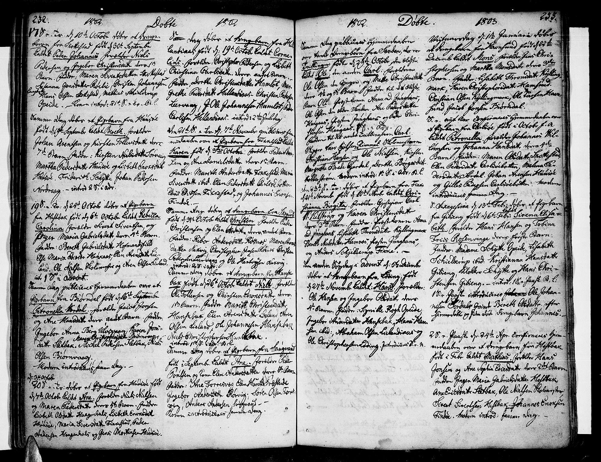SAT, Ministerialprotokoller, klokkerbøker og fødselsregistre - Nordland, 859/L0841: Parish register (official) no. 859A01, 1766-1821, p. 232-233