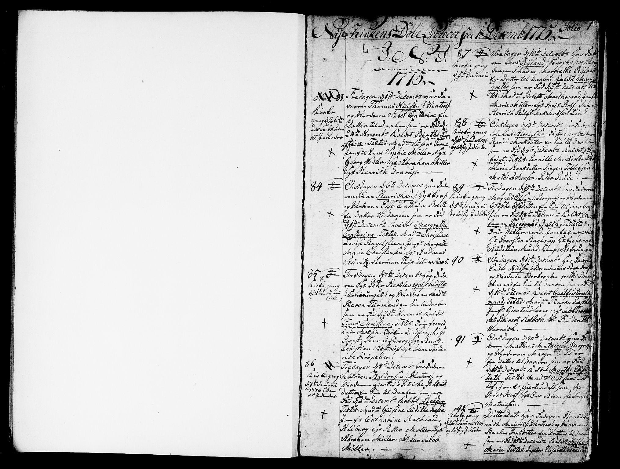 SAB, Nykirken Sokneprestembete, H/Haa: Parish register (official) no. A 5, 1775-1808, p. 1