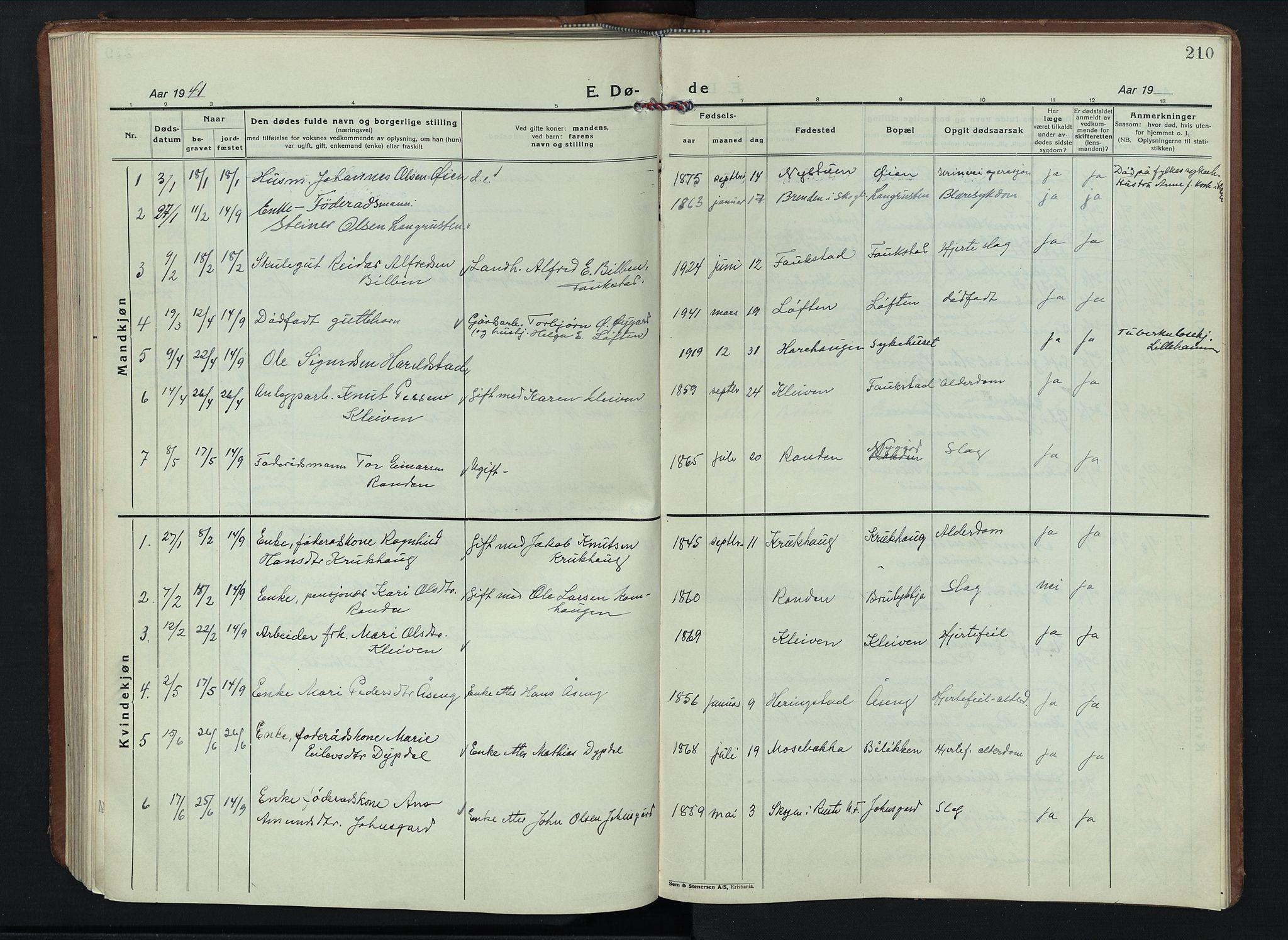 SAH, Sel prestekontor, Parish register (copy) no. 6, 1923-1953, p. 210