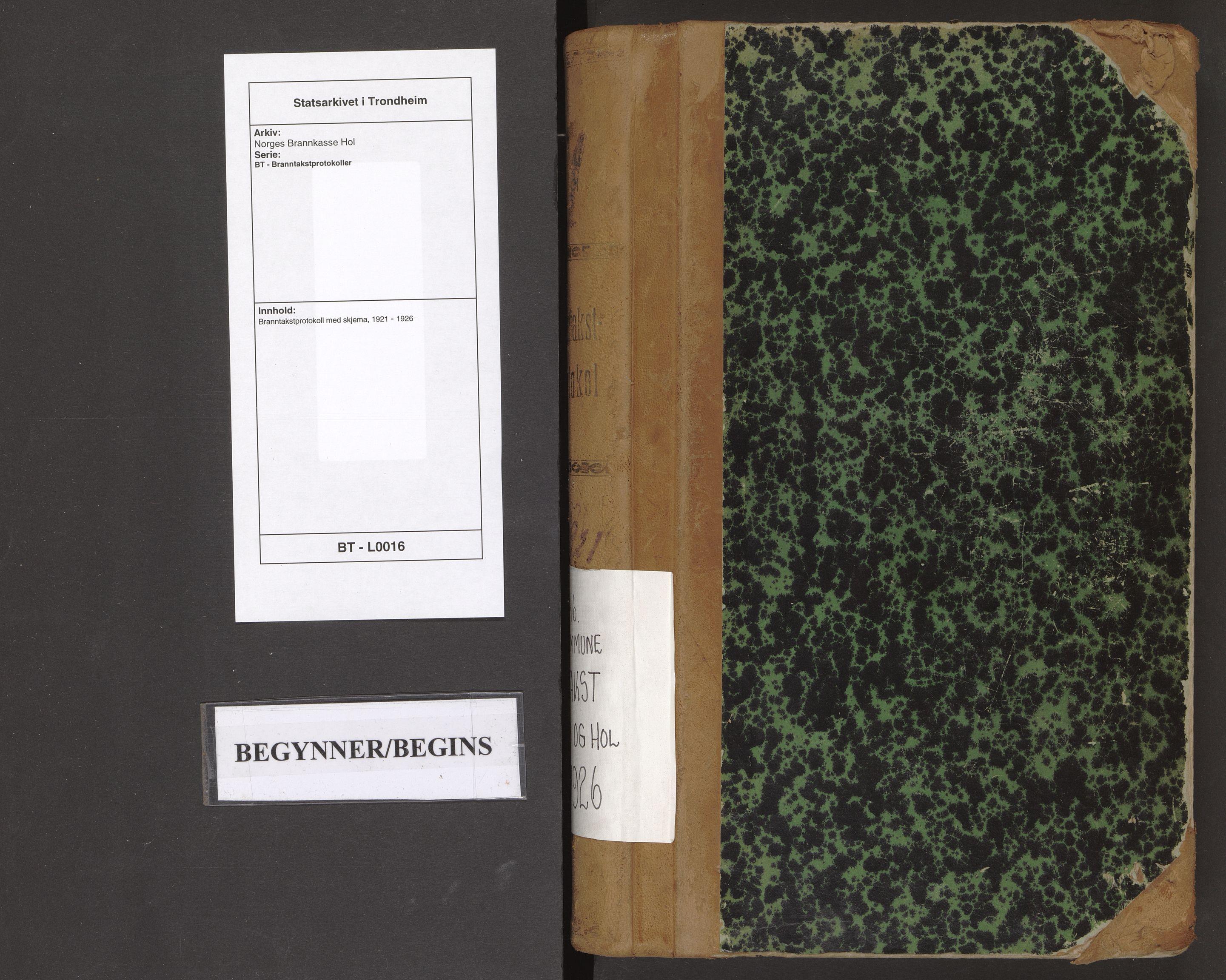 SAT, Norges Brannkasse Hol, BT/L0016: Branntakstprotokoll med skjema, 1921-1926