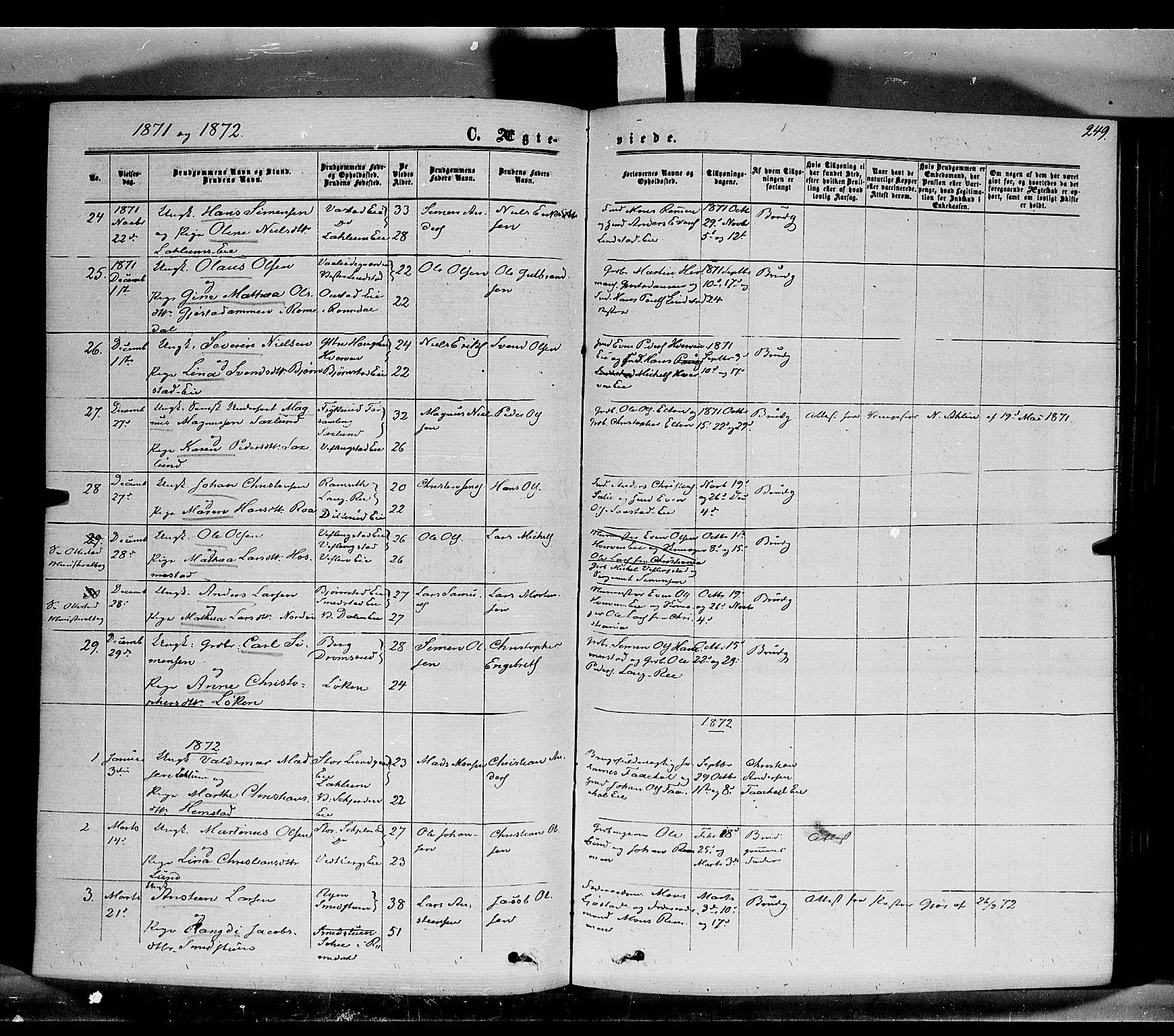 SAH, Stange prestekontor, K/L0013: Parish register (official) no. 13, 1862-1879, p. 249