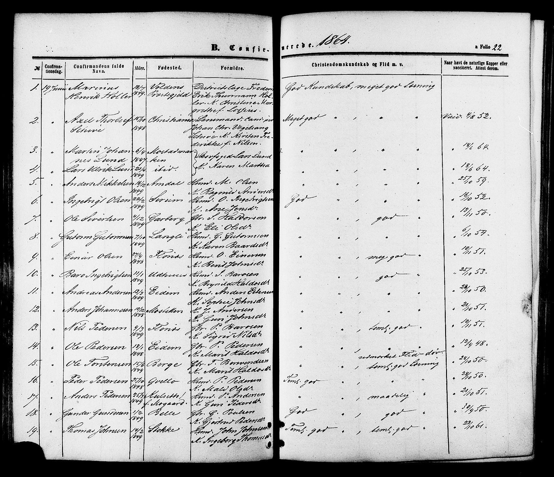 SAT, Ministerialprotokoller, klokkerbøker og fødselsregistre - Sør-Trøndelag, 695/L1147: Parish register (official) no. 695A07, 1860-1877, p. 22