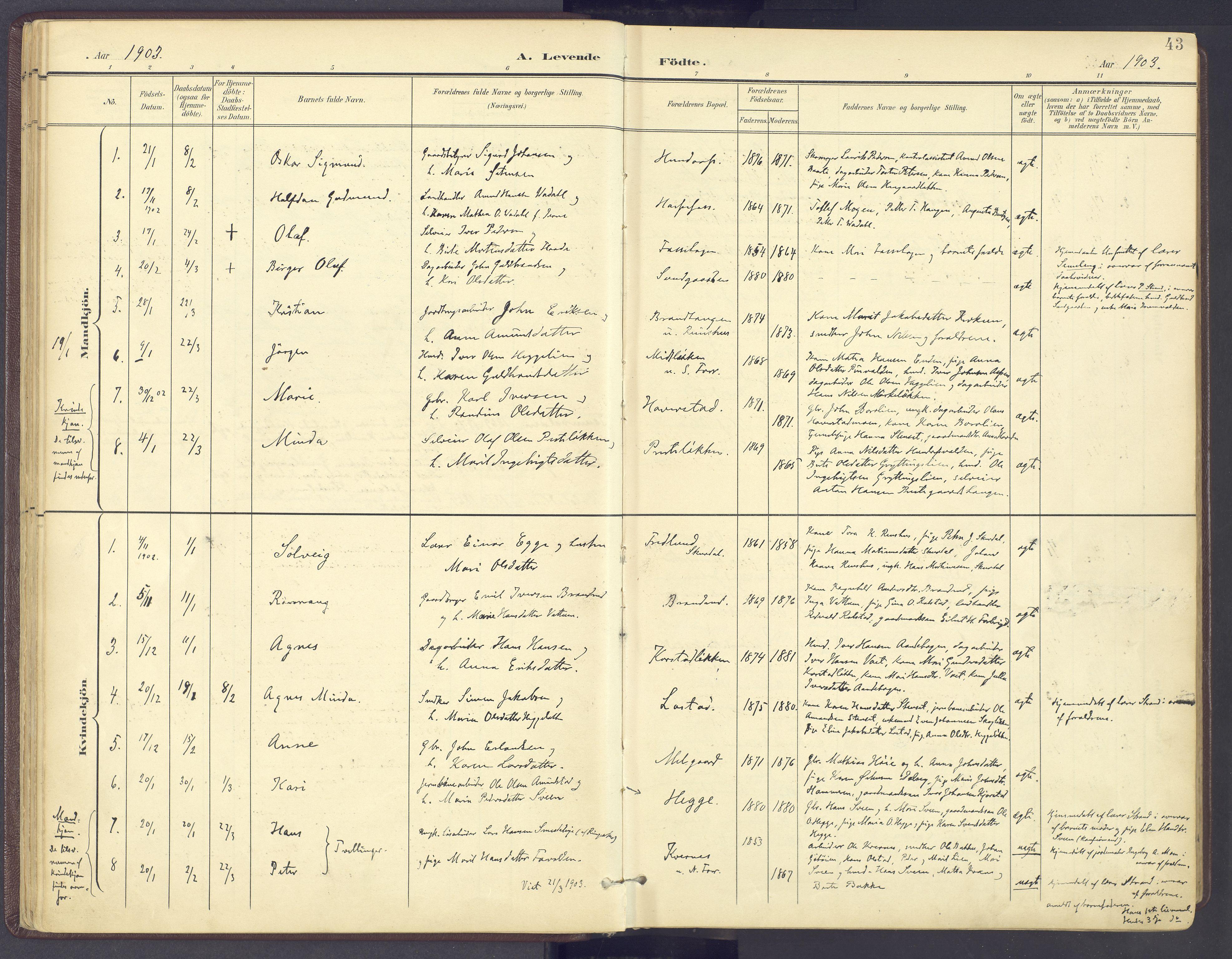 SAH, Sør-Fron prestekontor, H/Ha/Haa/L0004: Parish register (official) no. 4, 1898-1919, p. 43