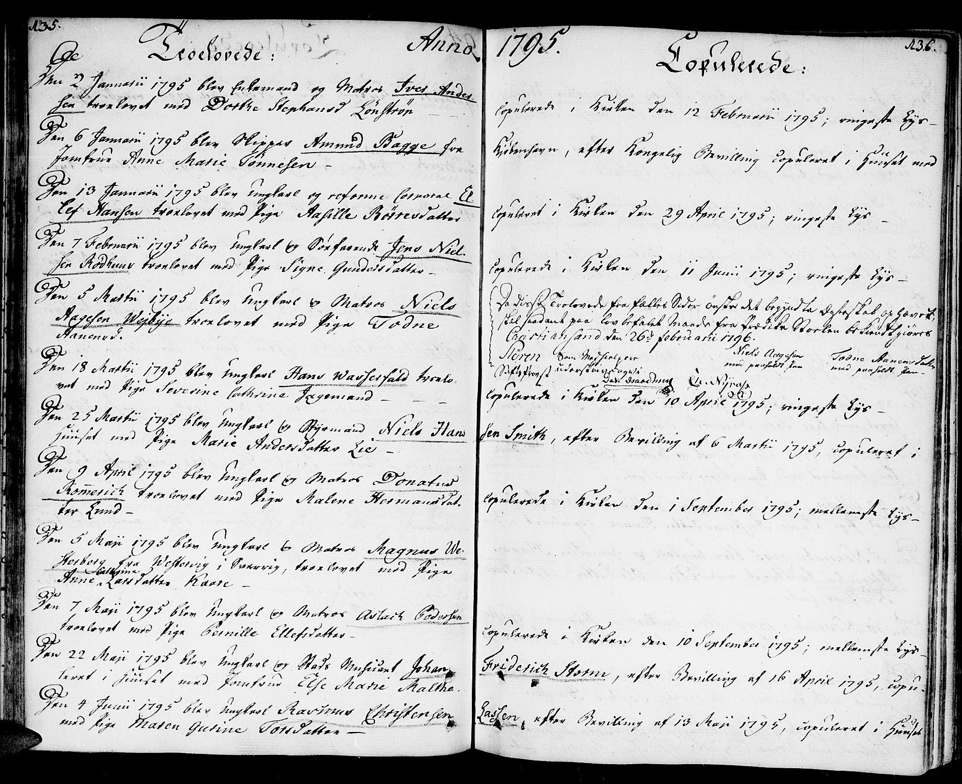 SAK, Kristiansand domprosti, F/Fa/L0005: Parish register (official) no. A 5, 1776-1818, p. 135-136
