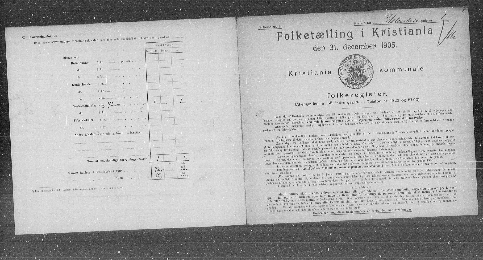 OBA, Municipal Census 1905 for Kristiania, 1905, p. 21186