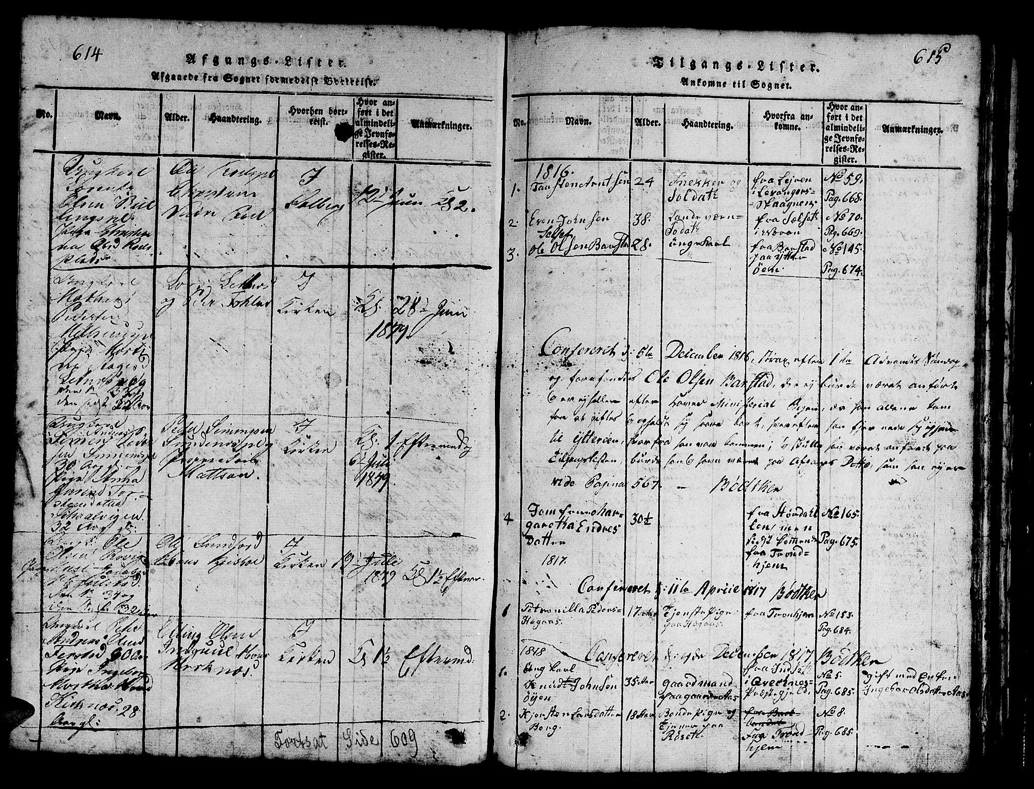 SAT, Ministerialprotokoller, klokkerbøker og fødselsregistre - Nord-Trøndelag, 730/L0298: Parish register (copy) no. 730C01, 1816-1849, p. 614-615