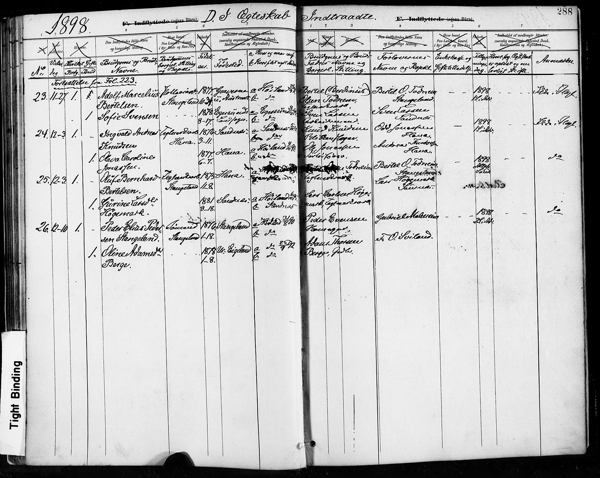 SAST, Høyland sokneprestkontor, 30BA/L0013: Parish register (official) no. A 13.2, 1889-1898, p. 288