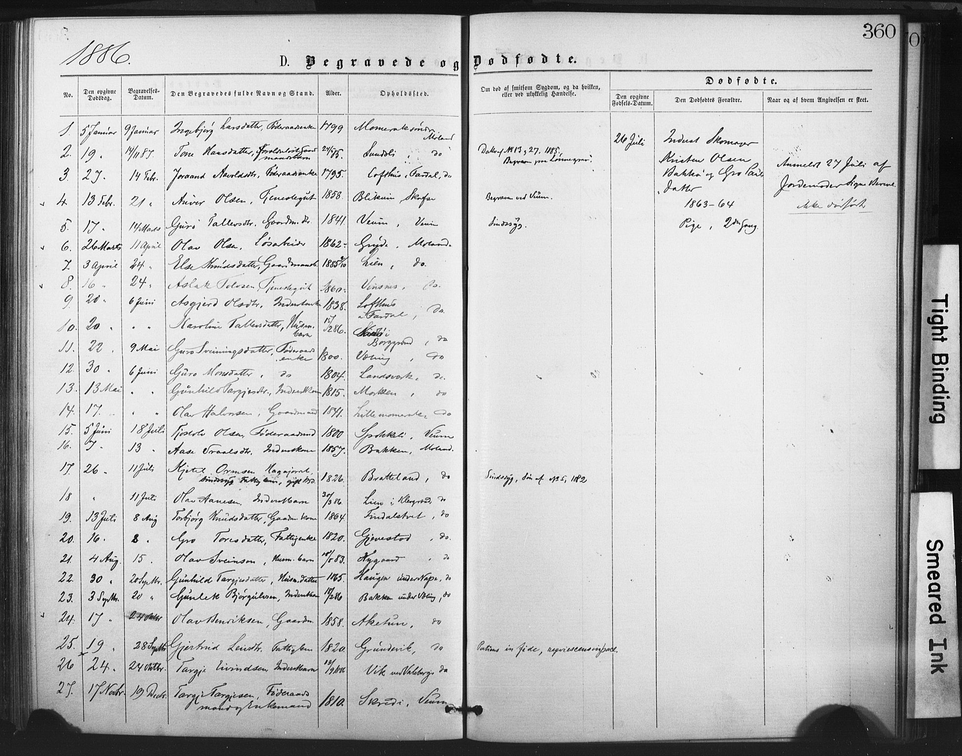 SAKO, Fyresdal kirkebøker, F/Fa/L0006: Parish register (official) no. I 6, 1872-1886, p. 360