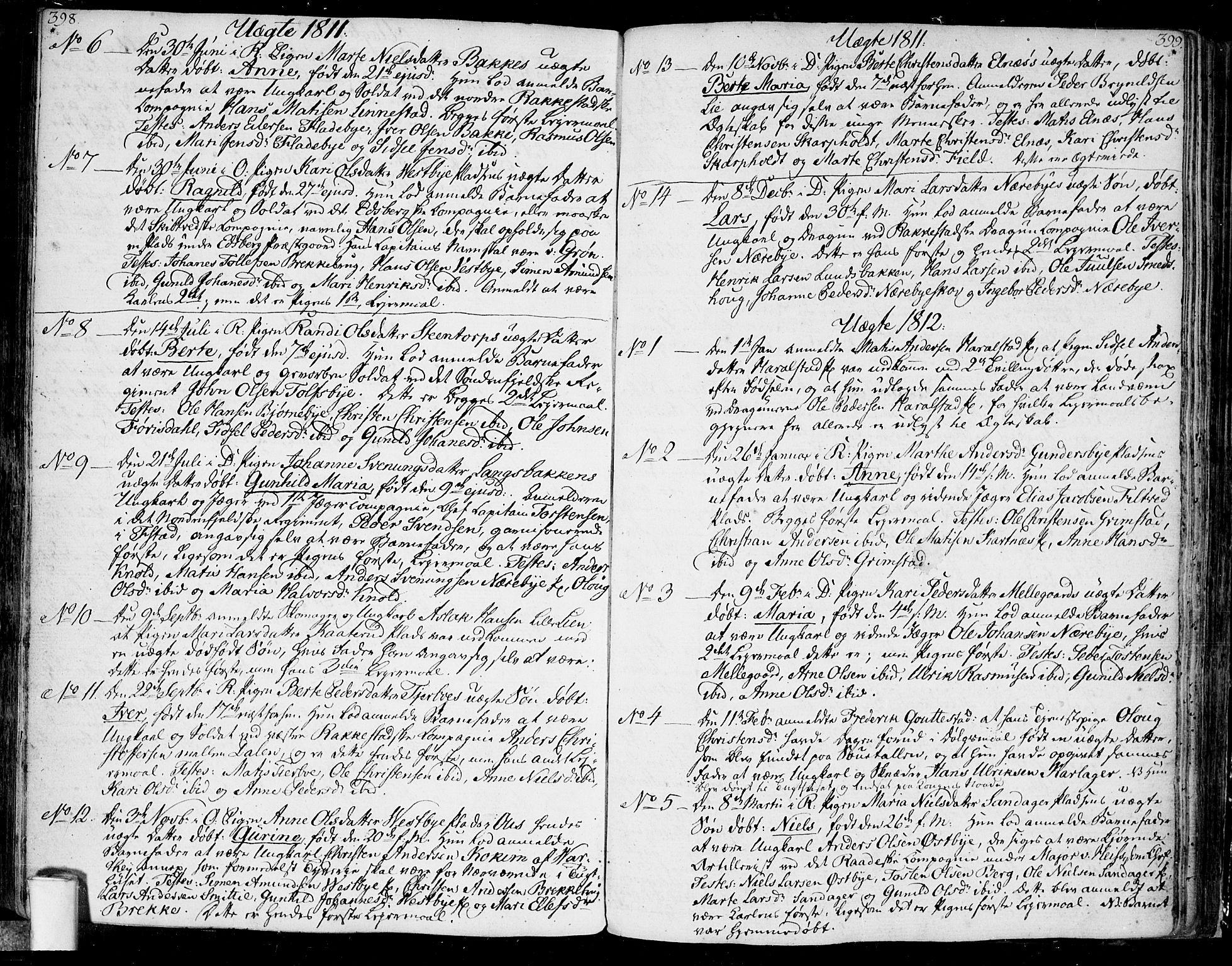 SAO, Rakkestad prestekontor Kirkebøker, F/Fa/L0005: Parish register (official) no. I 5, 1784-1814, p. 398-399