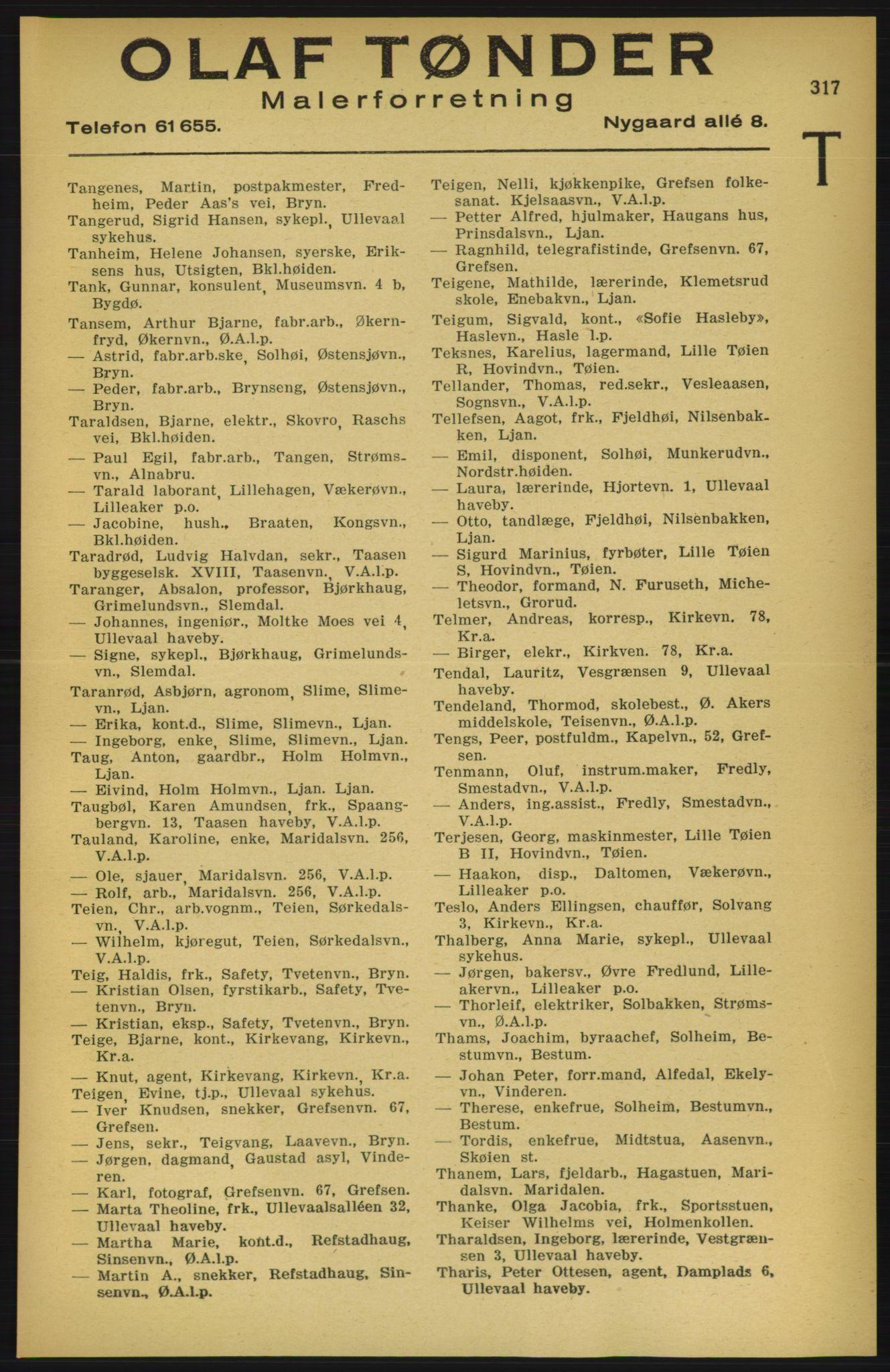 RA, Aker adressebok/adressekalender (publikasjon)*, 1924-1925, p. 317