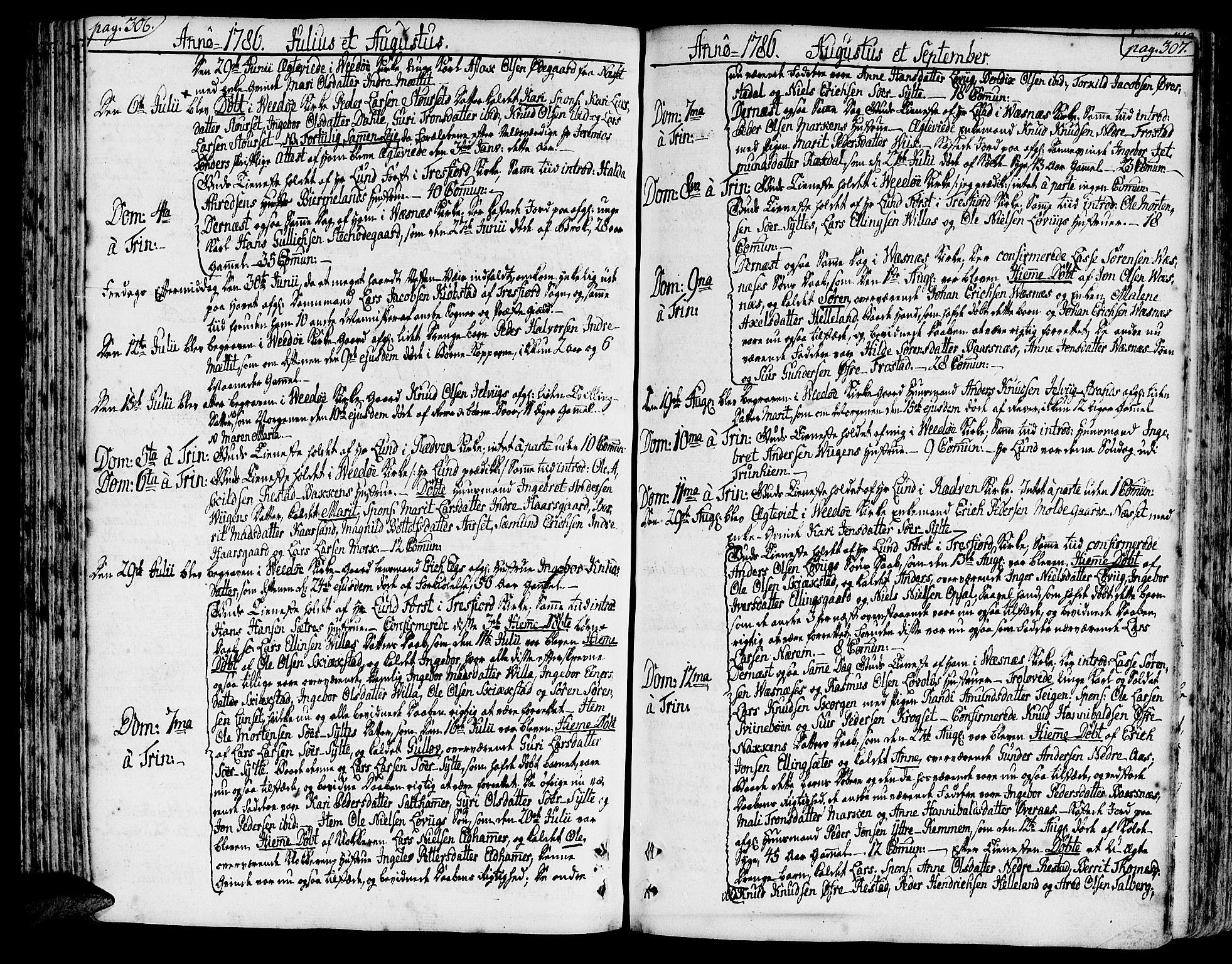 SAT, Ministerialprotokoller, klokkerbøker og fødselsregistre - Møre og Romsdal, 547/L0600: Parish register (official) no. 547A02, 1765-1799, p. 306-307