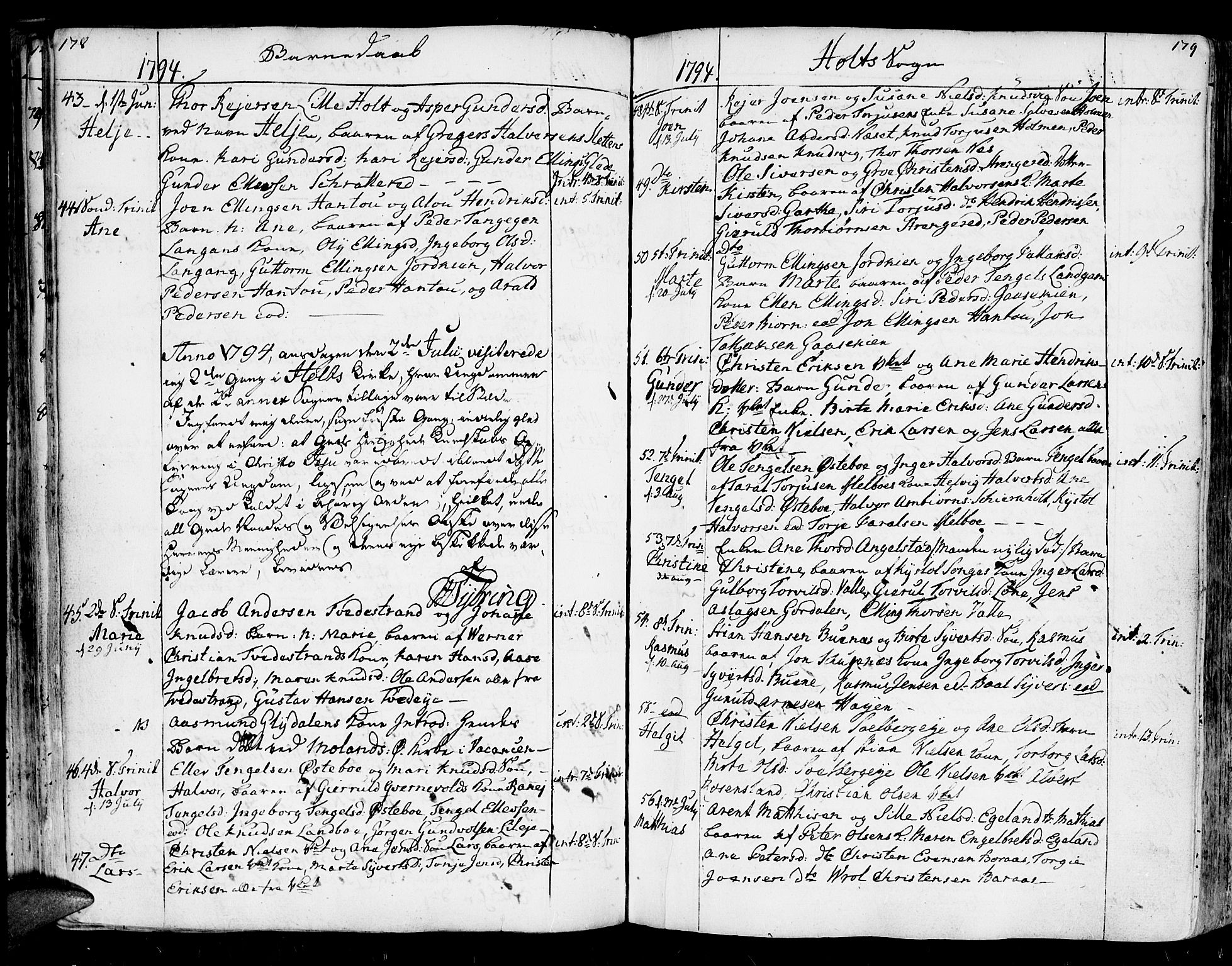 SAK, Holt sokneprestkontor, F/Fa/L0003: Parish register (official) no. A 3, 1765-1798, p. 178-179
