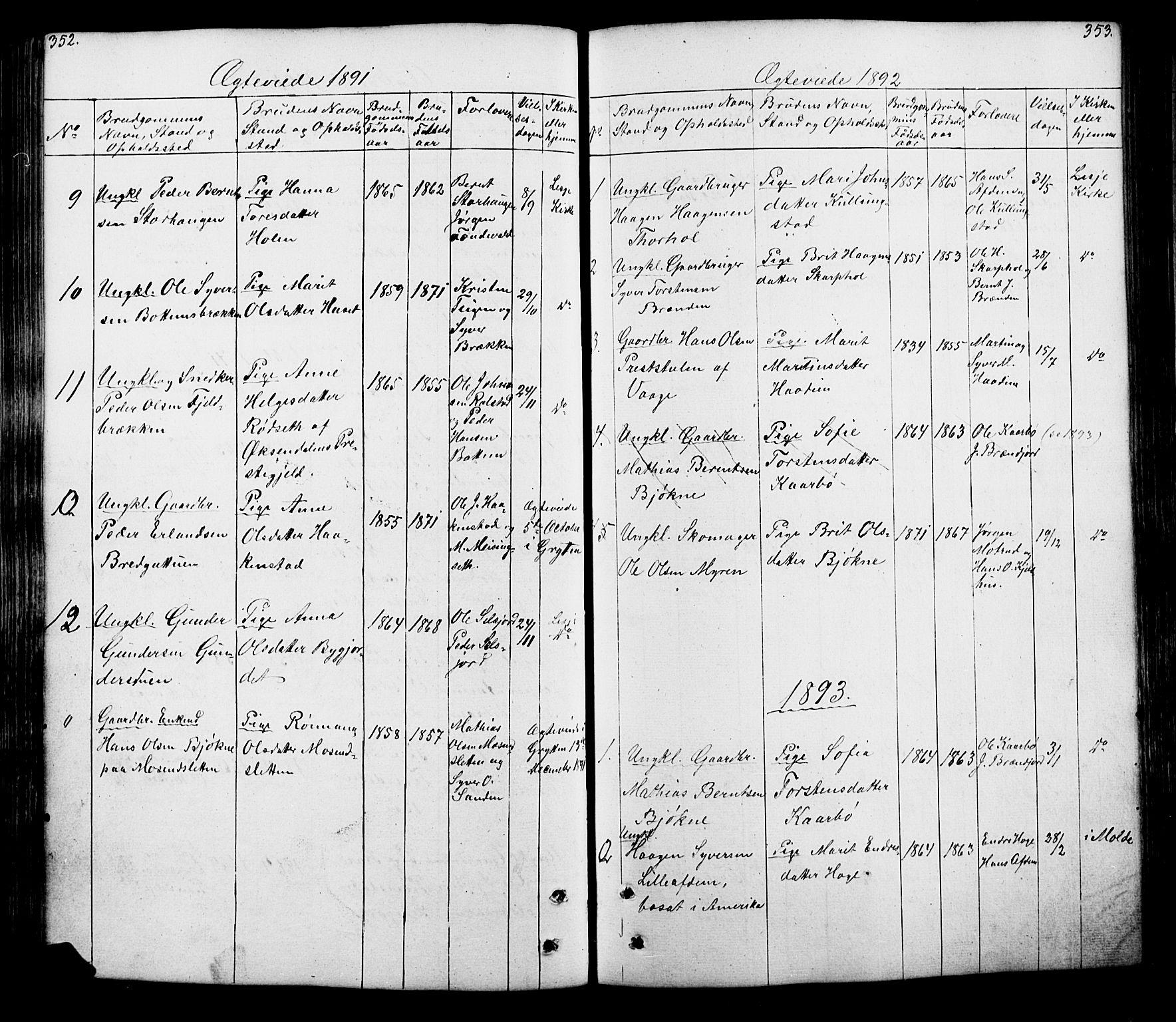SAH, Lesja prestekontor, Parish register (copy) no. 5, 1850-1894, p. 352-353