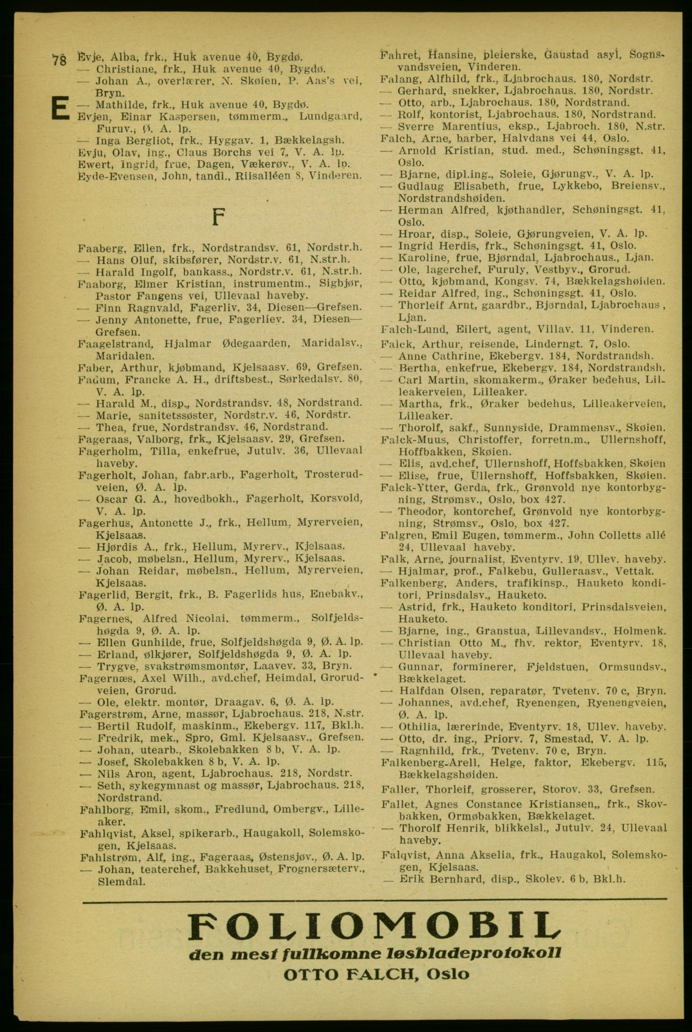RA, Aker adressebok/adressekalender (publikasjon)*, 1929, p. 78
