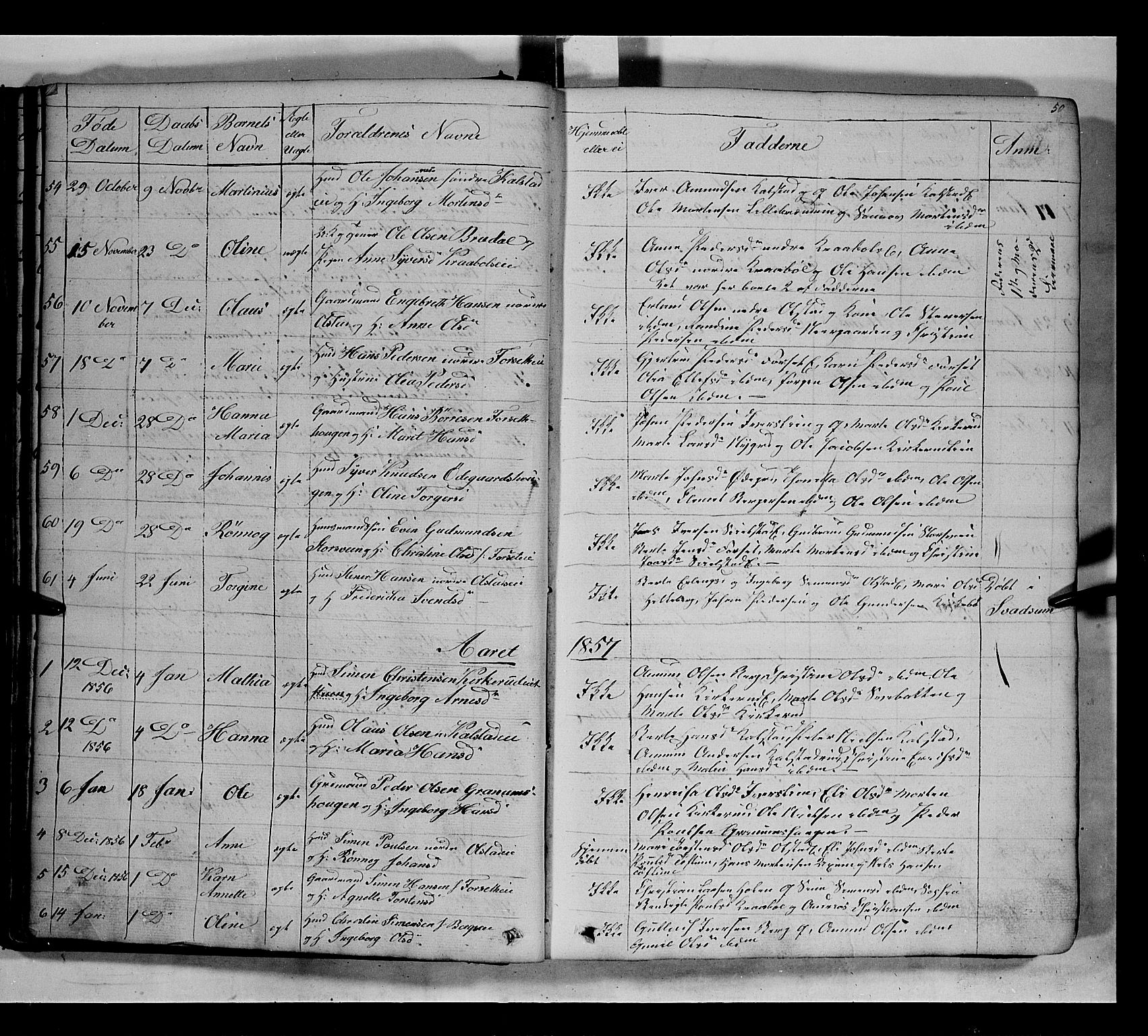 SAH, Gausdal prestekontor, Parish register (copy) no. 5, 1846-1867, p. 50