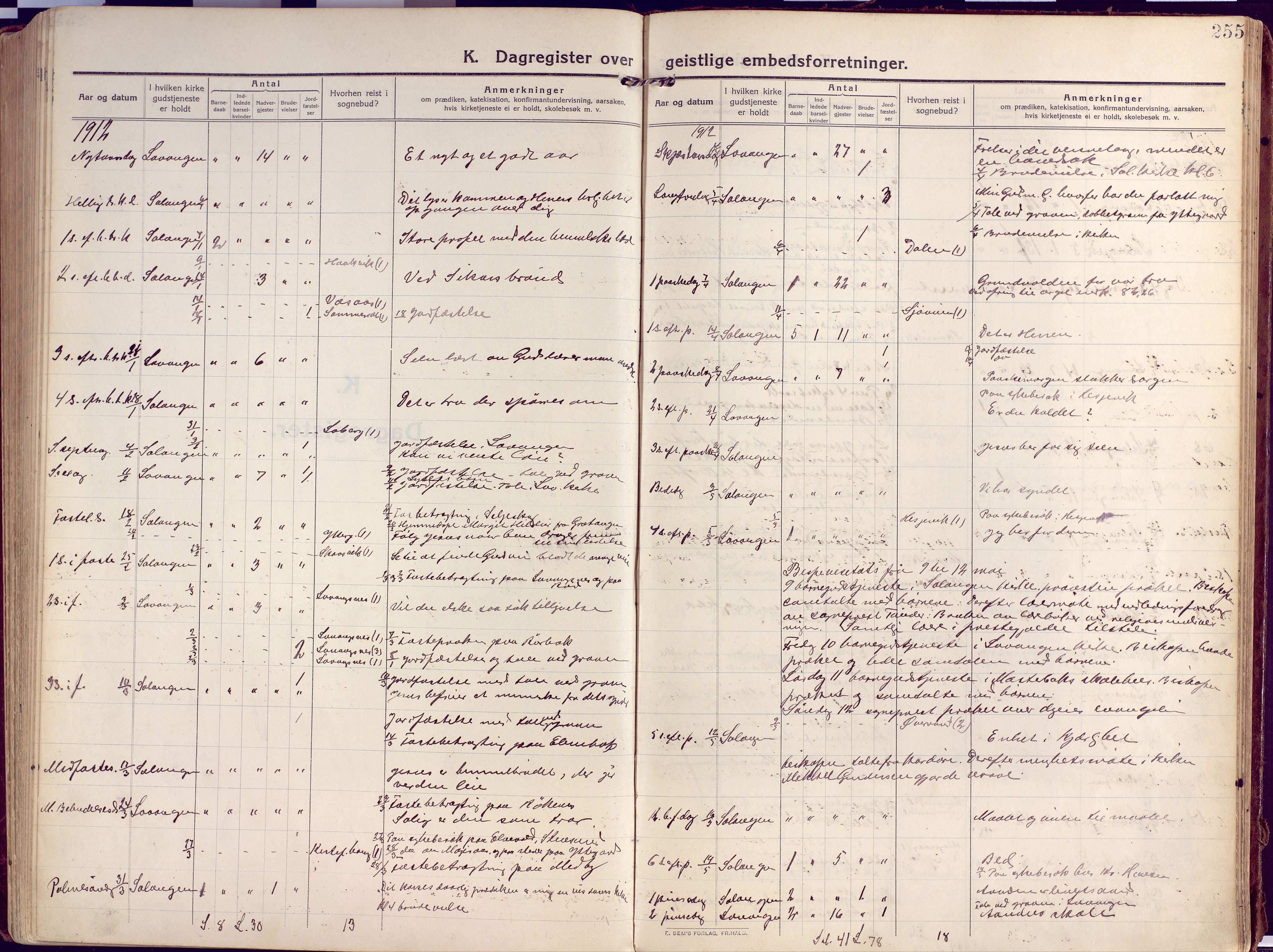 SATØ, Salangen sokneprestembete, H/Ha/L0004kirke: Parish register (official) no. 4, 1912-1927, p. 255