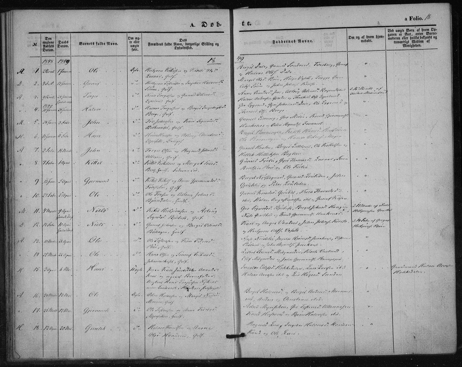 SAKO, Tinn kirkebøker, F/Fa/L0005: Parish register (official) no. I 5, 1844-1856, p. 18