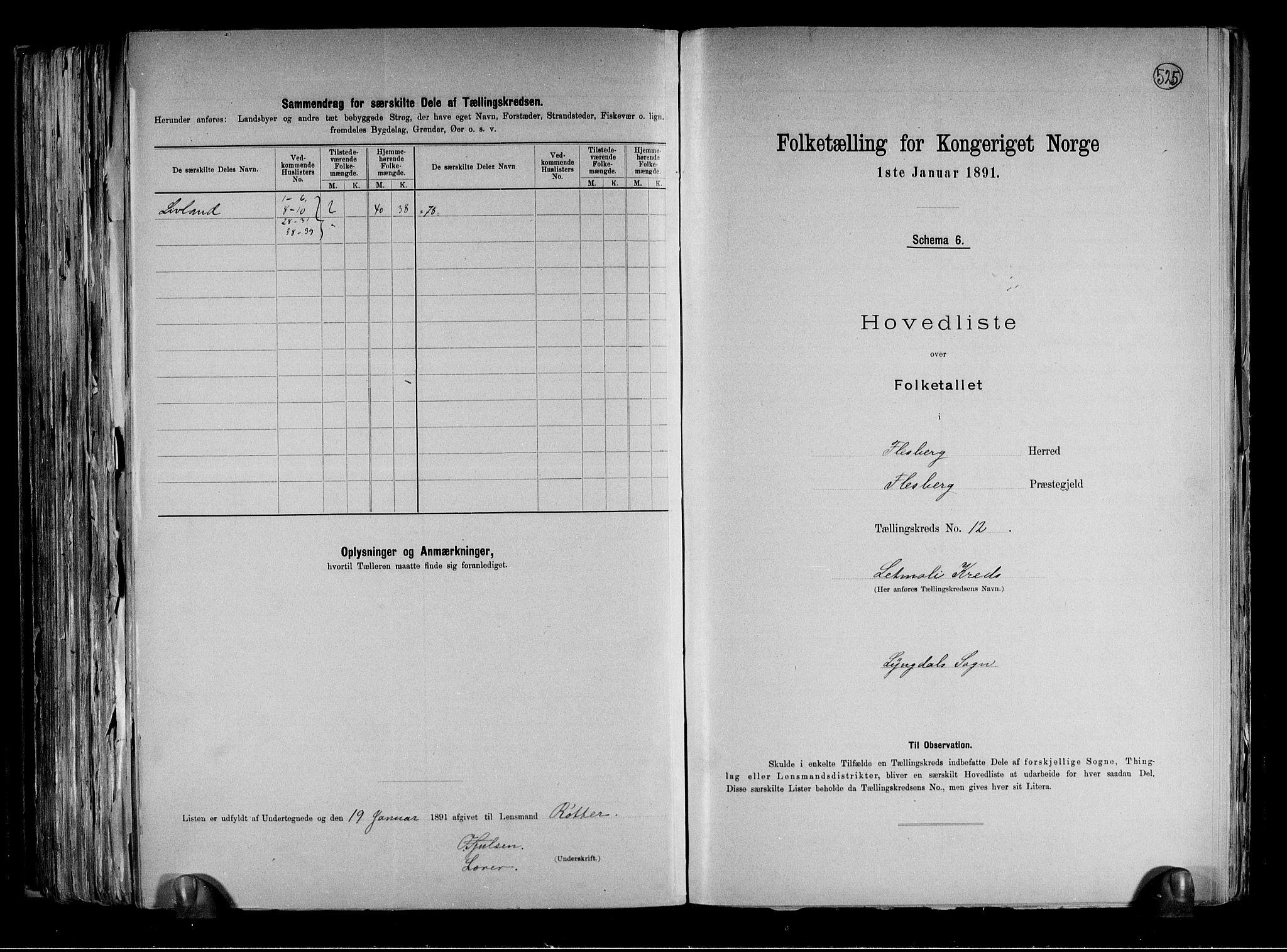 RA, 1891 census for 0631 Flesberg, 1891, p. 30