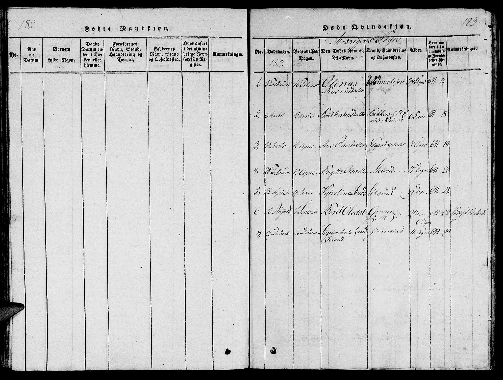SAT, Ministerialprotokoller, klokkerbøker og fødselsregistre - Nord-Trøndelag, 733/L0322: Parish register (official) no. 733A01, 1817-1842, p. 182-183