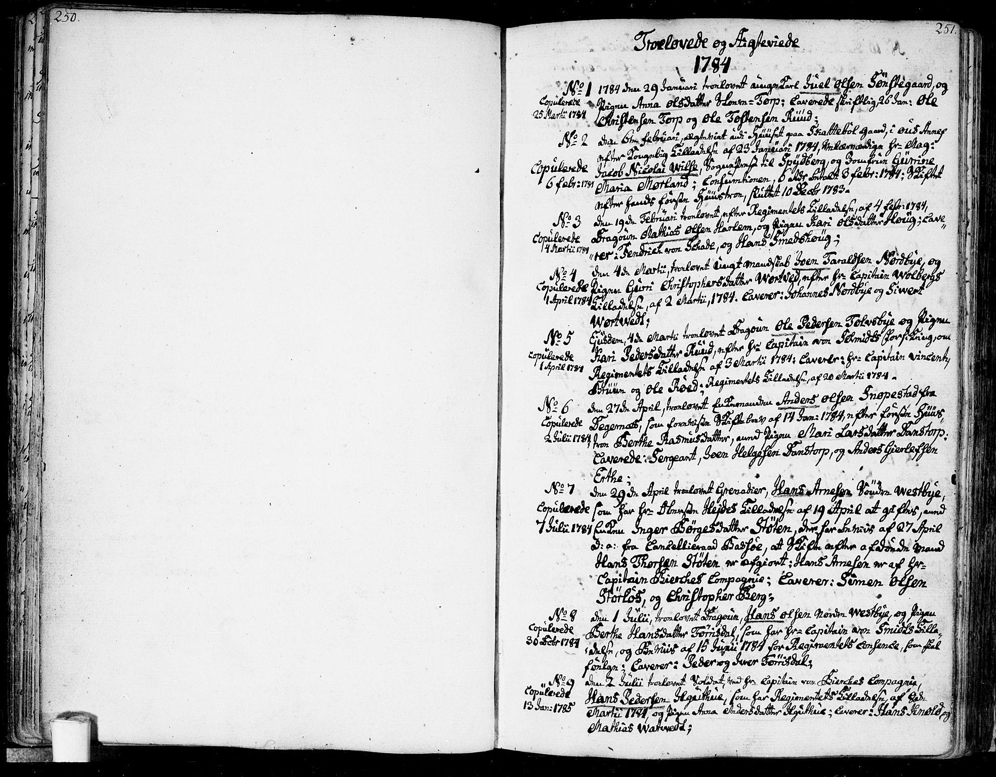 SAO, Rakkestad prestekontor Kirkebøker, F/Fa/L0005: Parish register (official) no. I 5, 1784-1814, p. 250-251