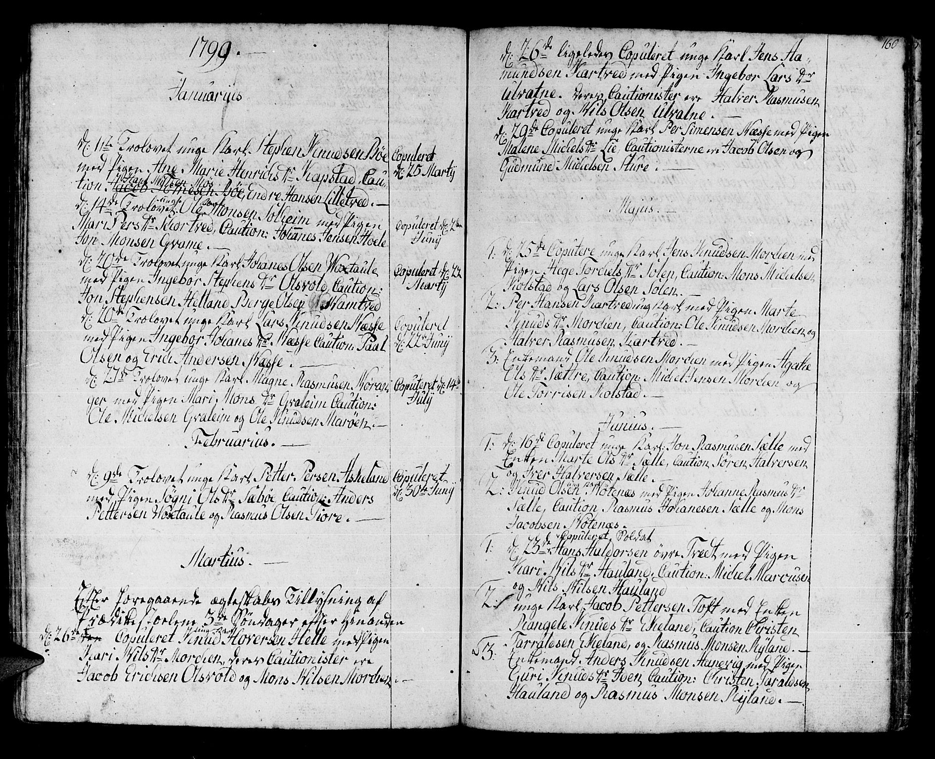 SAB, Manger sokneprestembete, H/Haa: Parish register (official) no. A 2, 1792-1815, p. 160