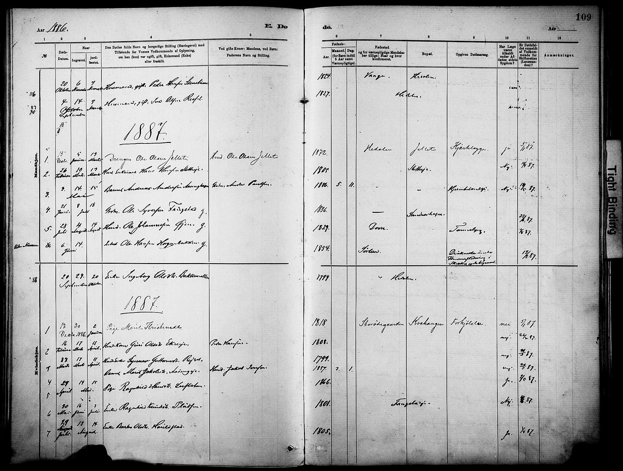 SAH, Vågå prestekontor, Parish register (official) no. 10, 1887-1904, p. 109