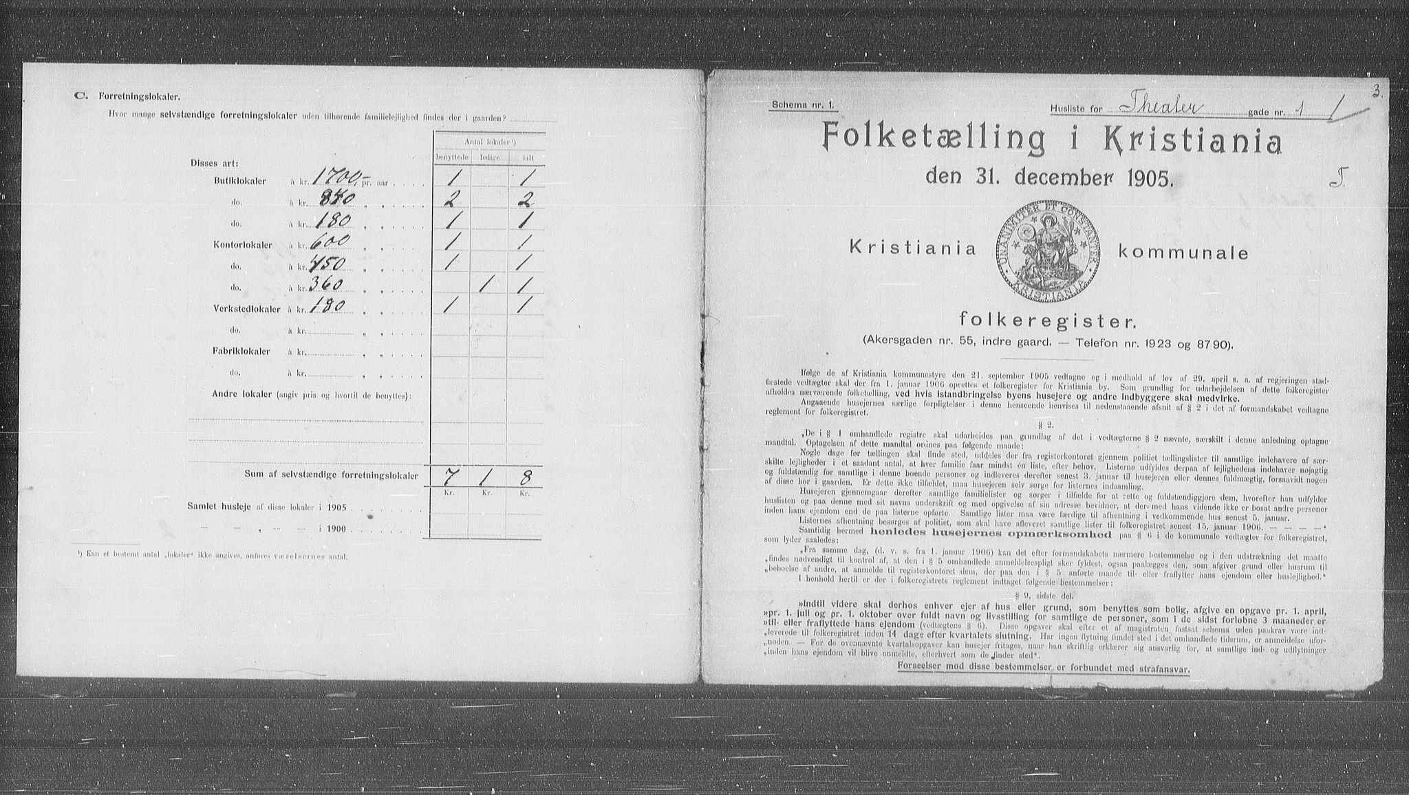 OBA, Municipal Census 1905 for Kristiania, 1905, p. 56251