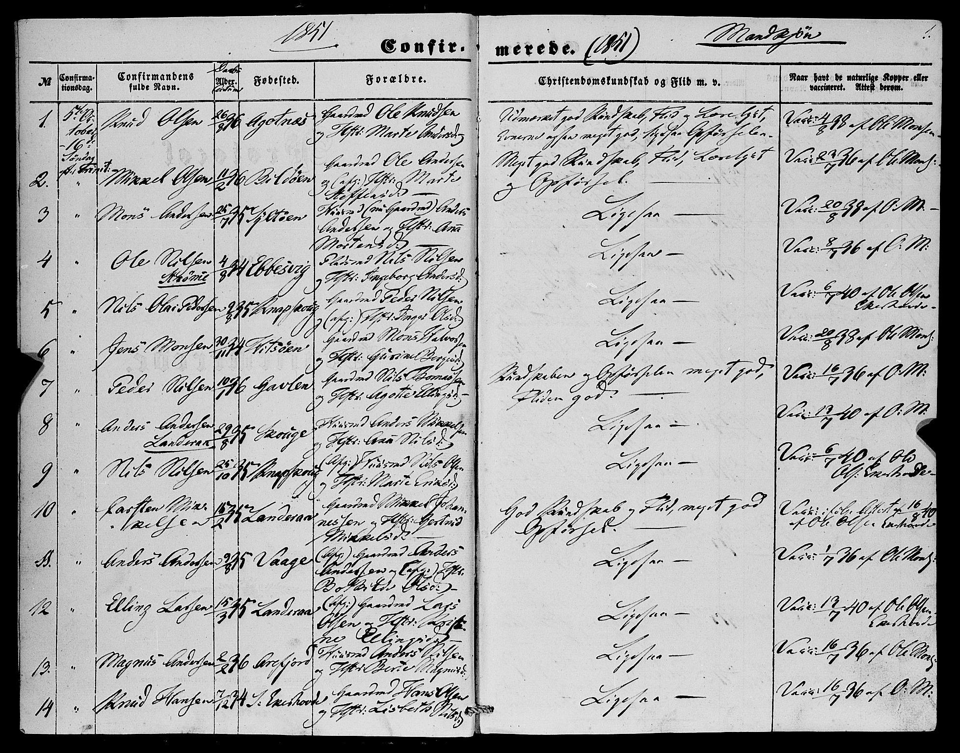 SAB, Fjell sokneprestembete, H/Haa: Parish register (official) no. A 4, 1851-1870, p. 1