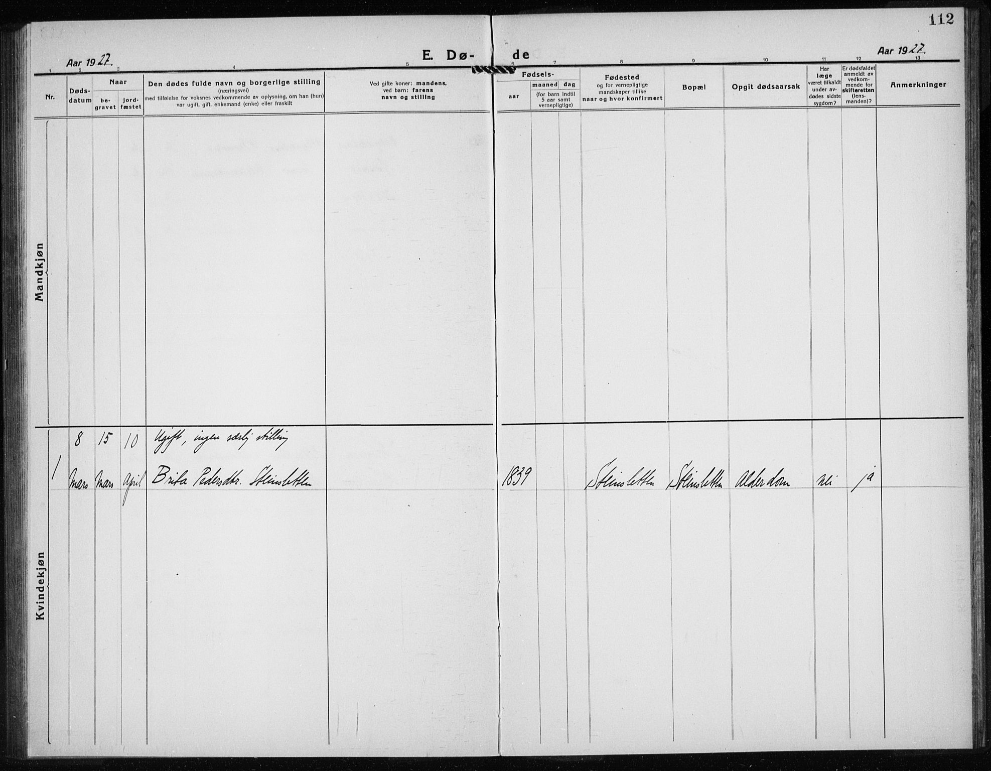 SAB, Kvinnherad Sokneprestembete, H/Haa: Parish register (official) no. G  1, 1920-1927, p. 112