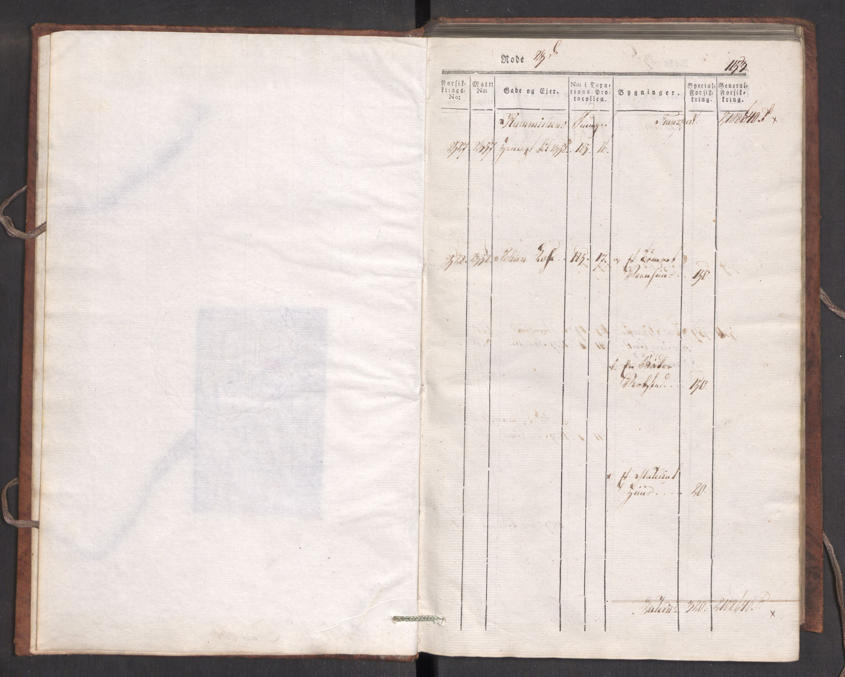 RA, Kommersekollegiet, Brannforsikringskontoret 1767-1814, F/Fa/L0007: Bergen, 1807-1817, p. 1153