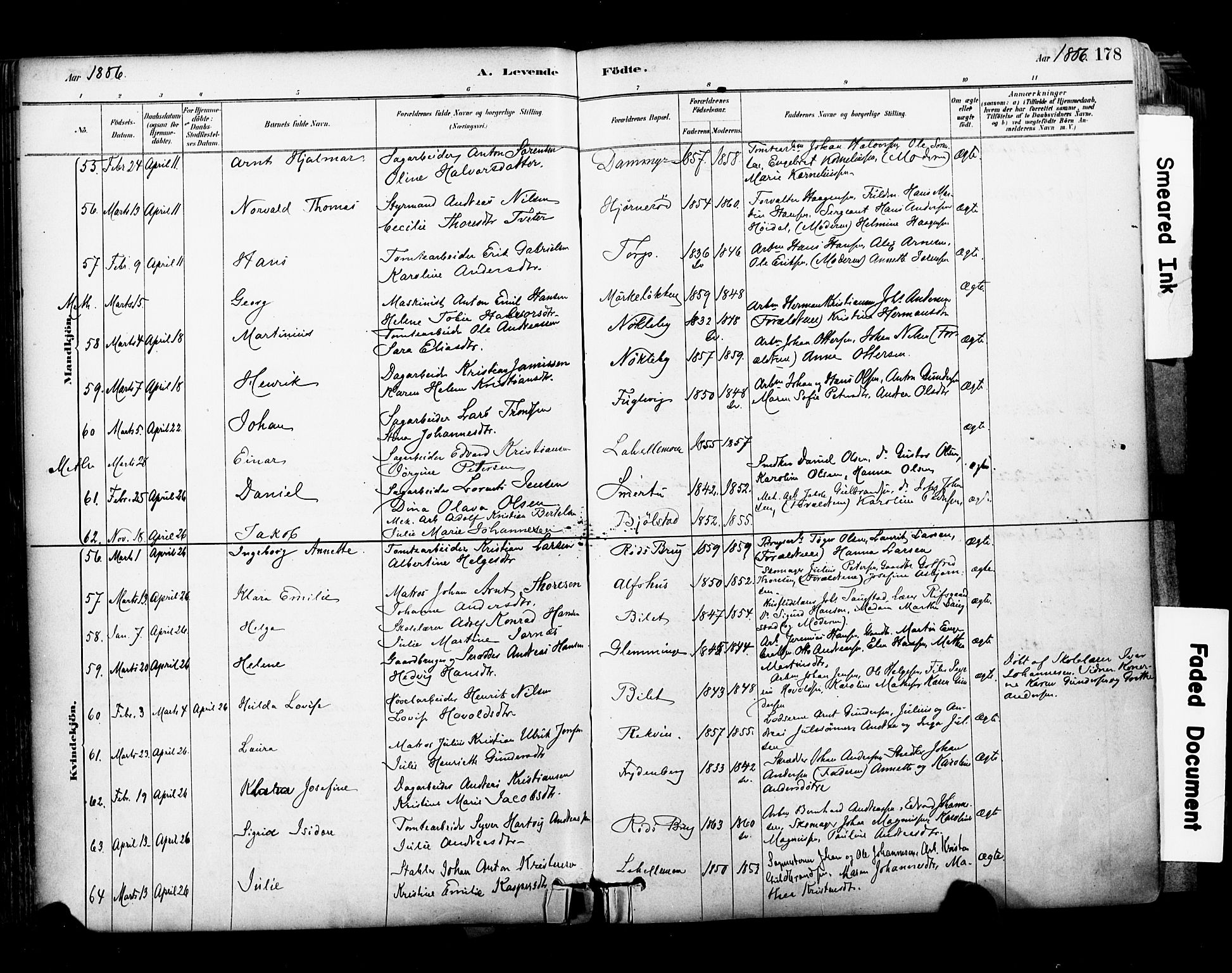 SAO, Glemmen prestekontor Kirkebøker, F/Fa/L0011: Parish register (official) no. 11, 1878-1917, p. 178