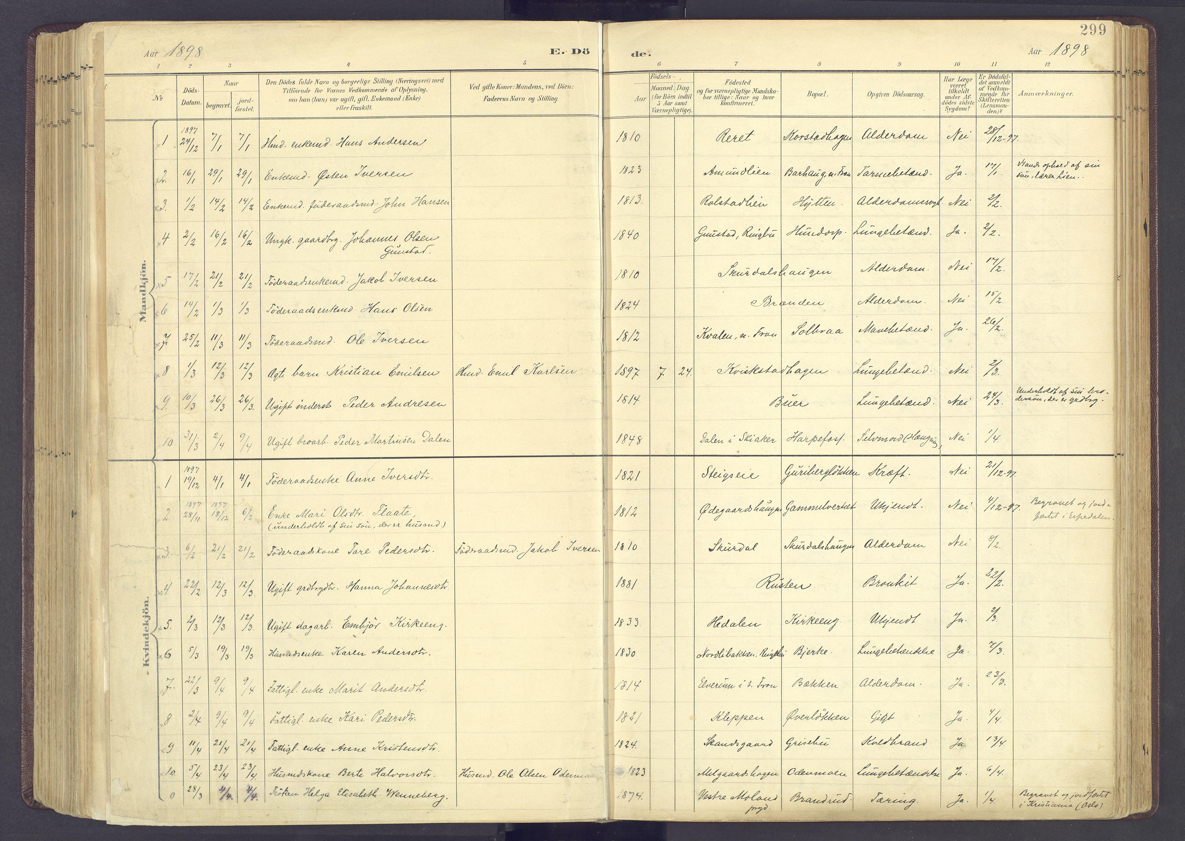 SAH, Sør-Fron prestekontor, H/Ha/Haa/L0004: Parish register (official) no. 4, 1898-1919, p. 299